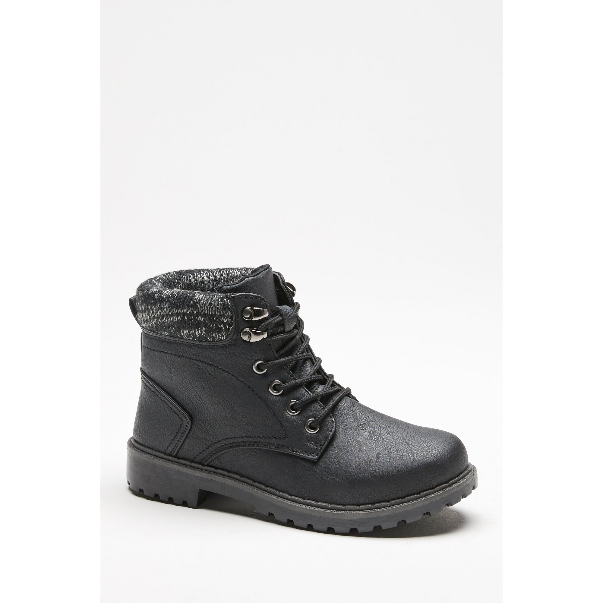 Knitted Collar Lace-Up Boots