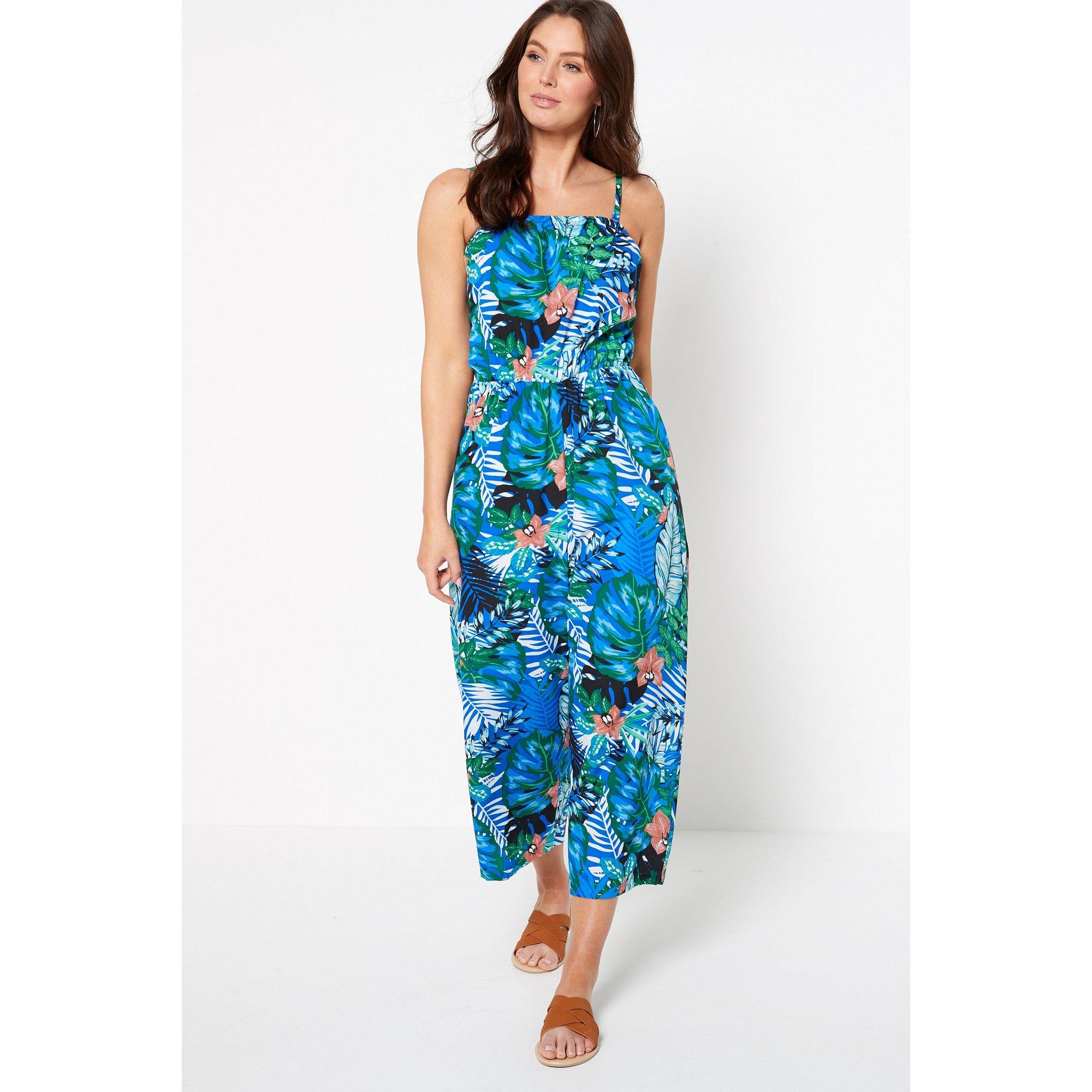 Image of Blue Tropical Floral Bandeau Jumpsuit