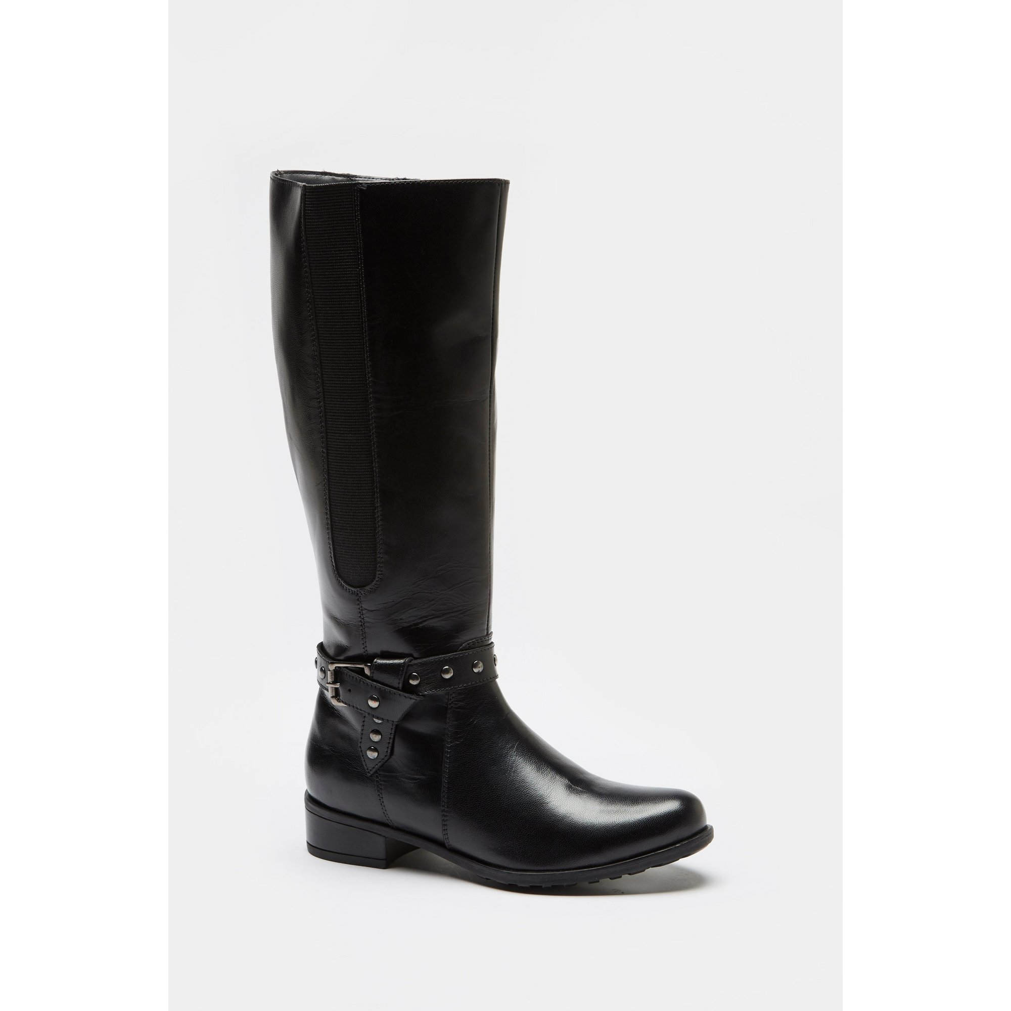 Image of Comfort Plus Strap Knee High Black Boots