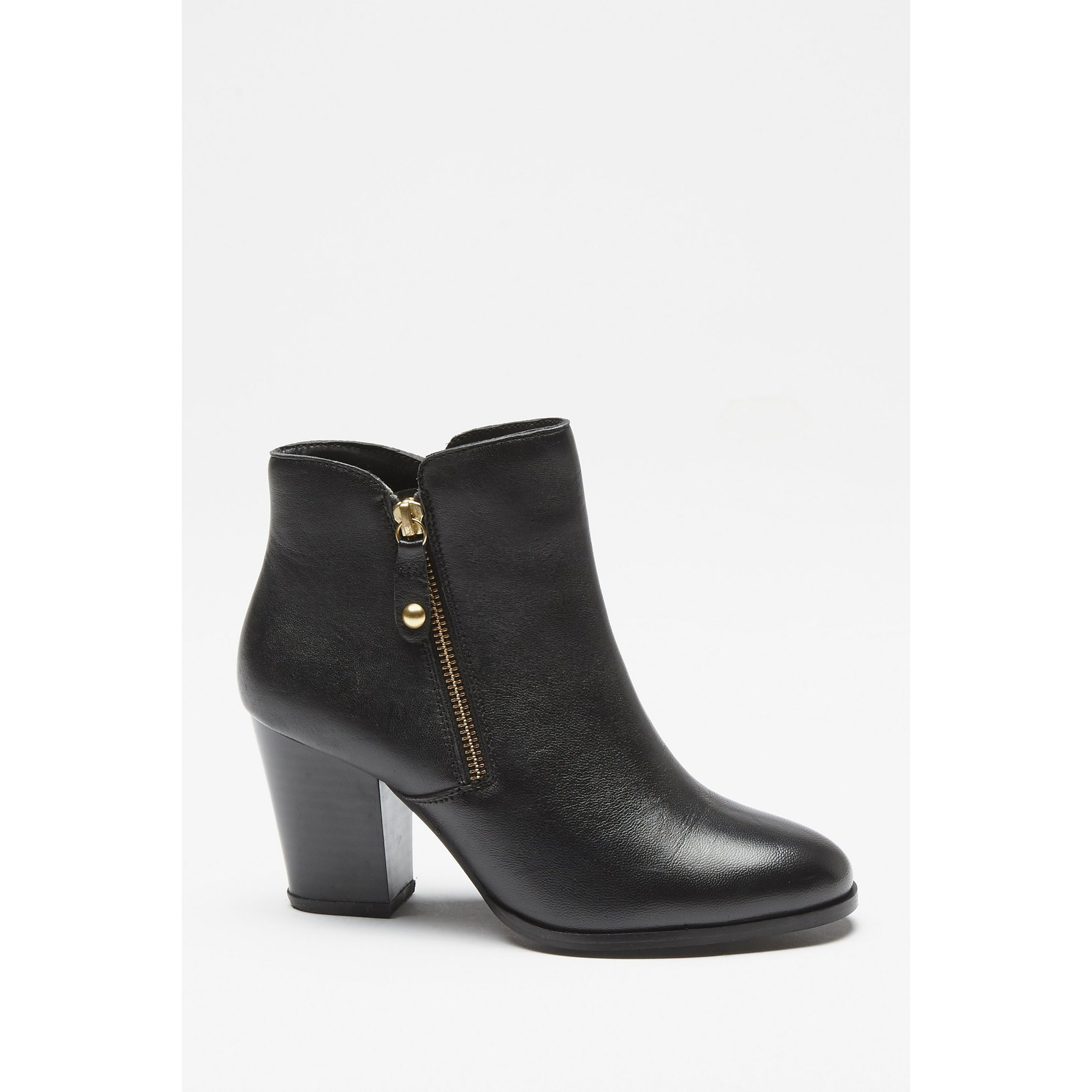 Image of Comfort Plus Black Heeled Zip Detail Ankle Boots