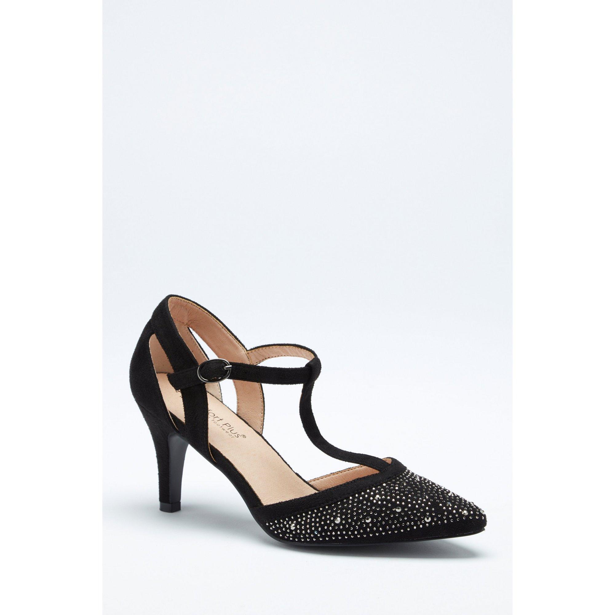Image of Comfort Plus Diamante T-Bar Black Court Shoes