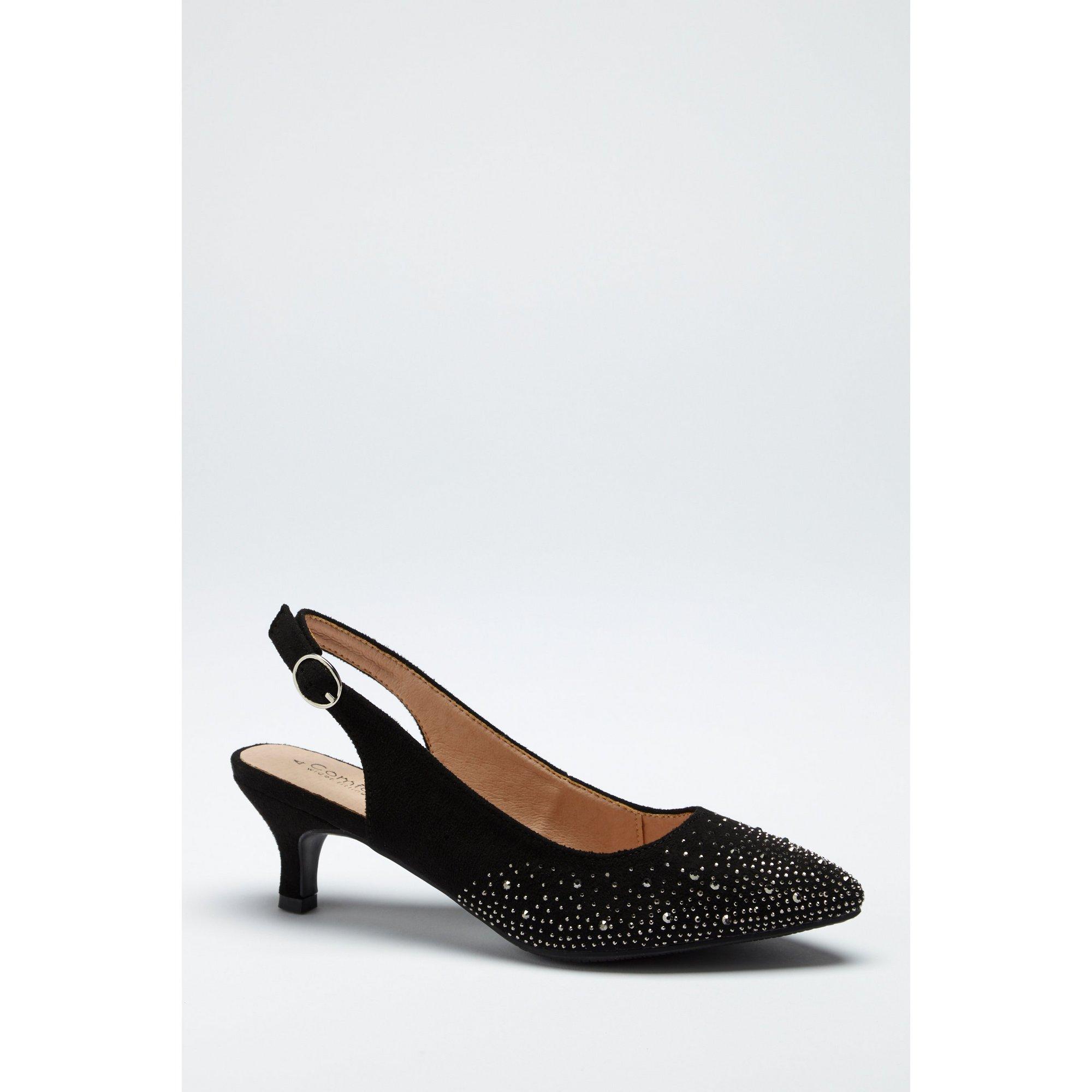 Image of Comfort Plus Diamante Black Sling Back Shoes
