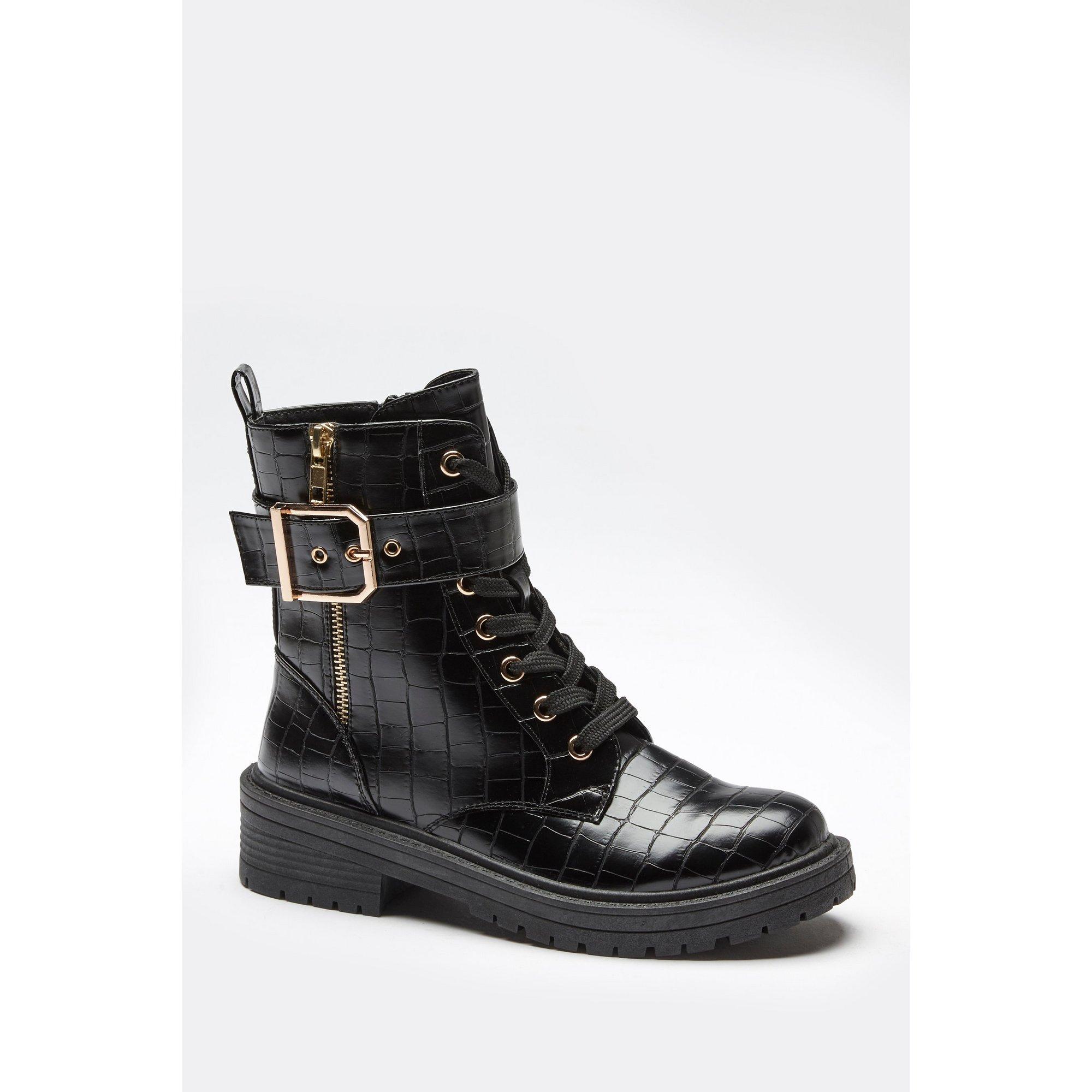 Croc Zip Detail Biker Boots