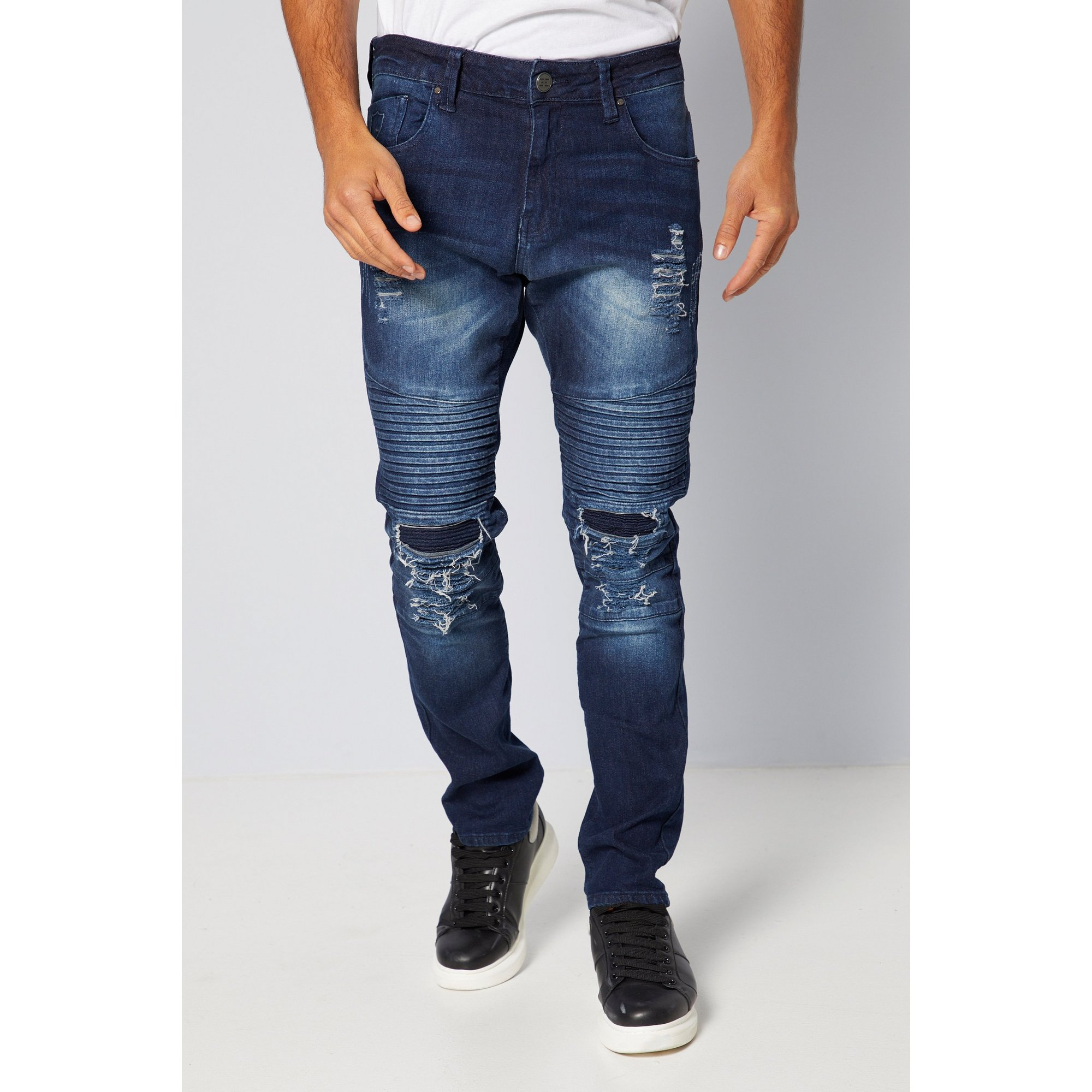 Image of 883 Police Mid Wash Ripped Straight Jeans