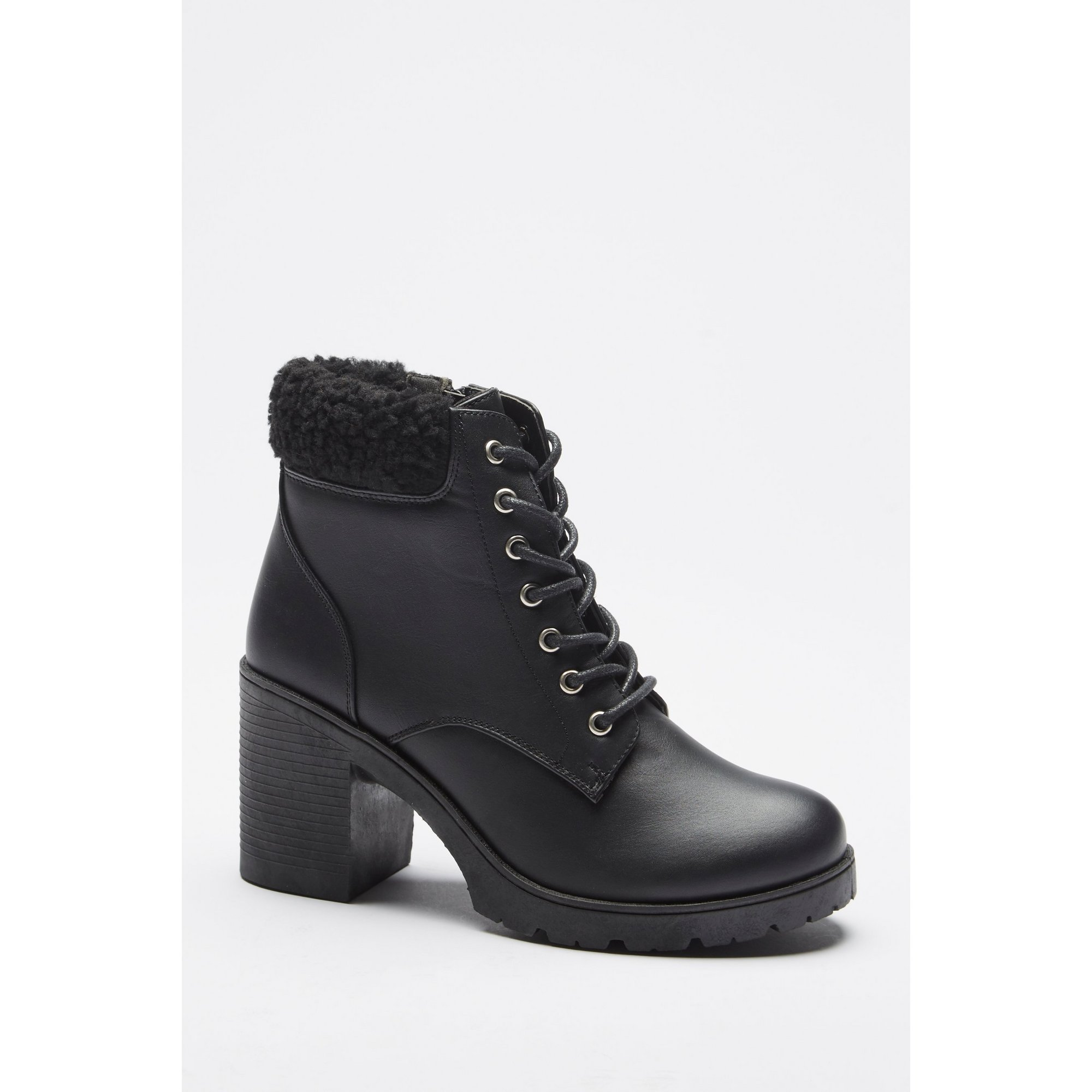 Image of Borg Collar Lace Up Chunky Heel Boots