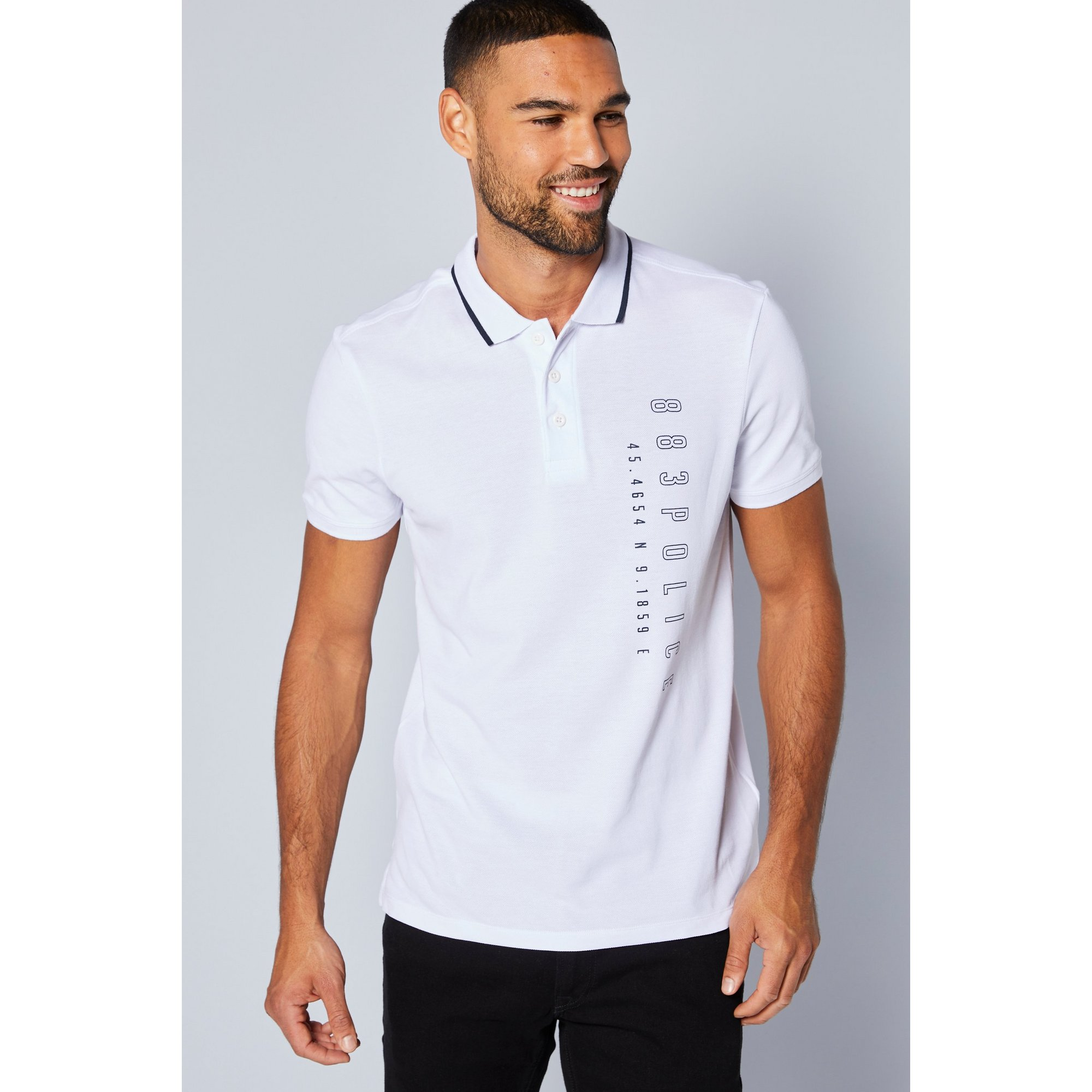Image of 883 Police Black and White Taping Polo Shirt