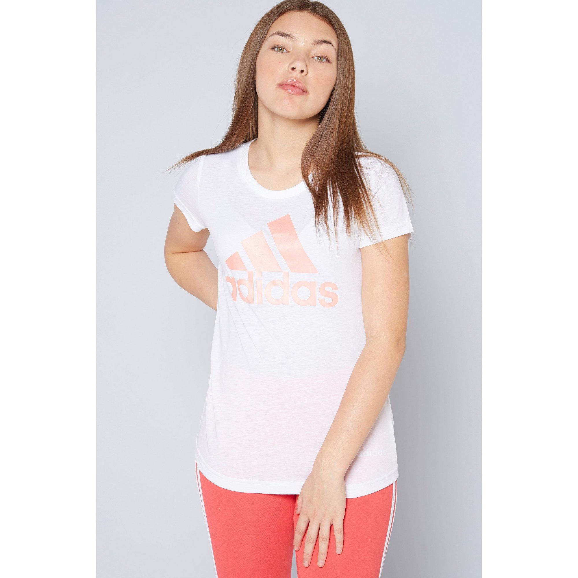 Image of Girls adidas BOS White/Haze Coral T-Shirt