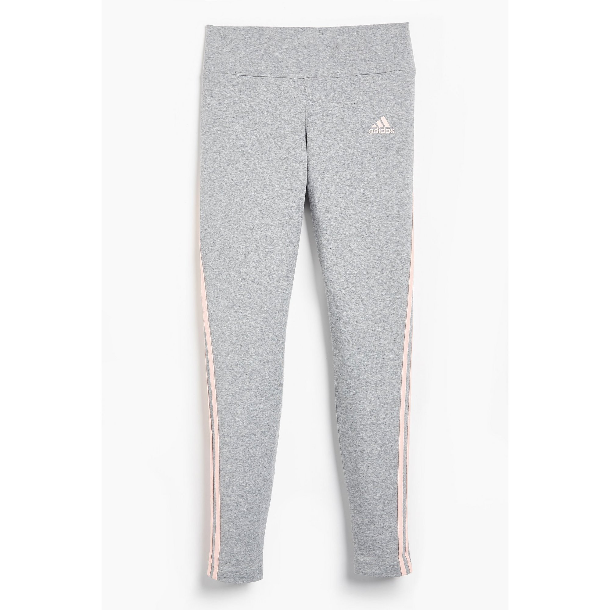 Image of Girls adidas 3-Stripes Medium Grey Heather/Haze Coral Leggings