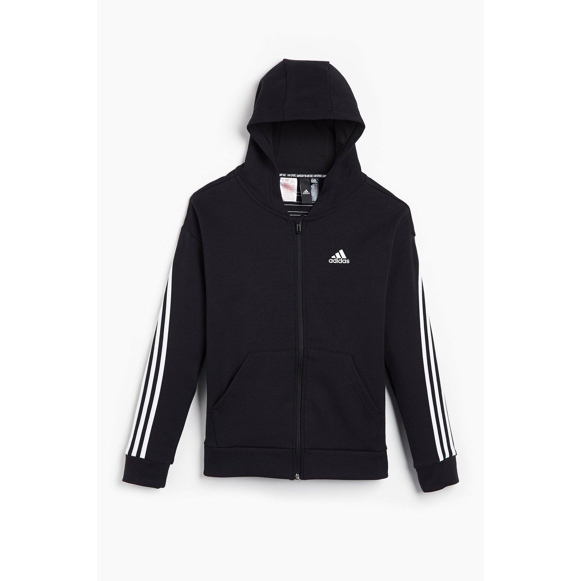 Image of Girls adidas 3-Stripes Black Zip Through Hoody