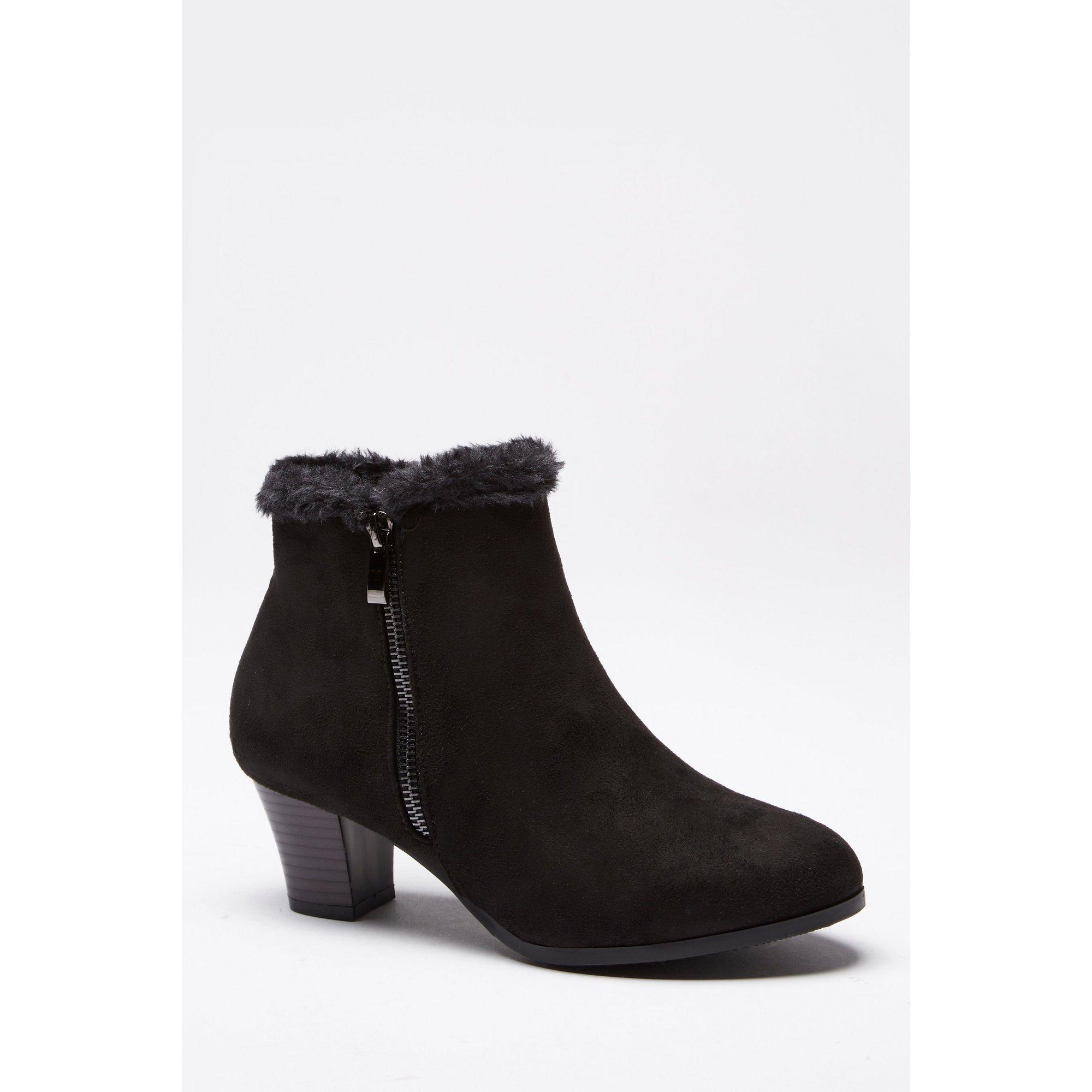 Image of Cushion Walk Faux Suede Fur Trim Zip Boots