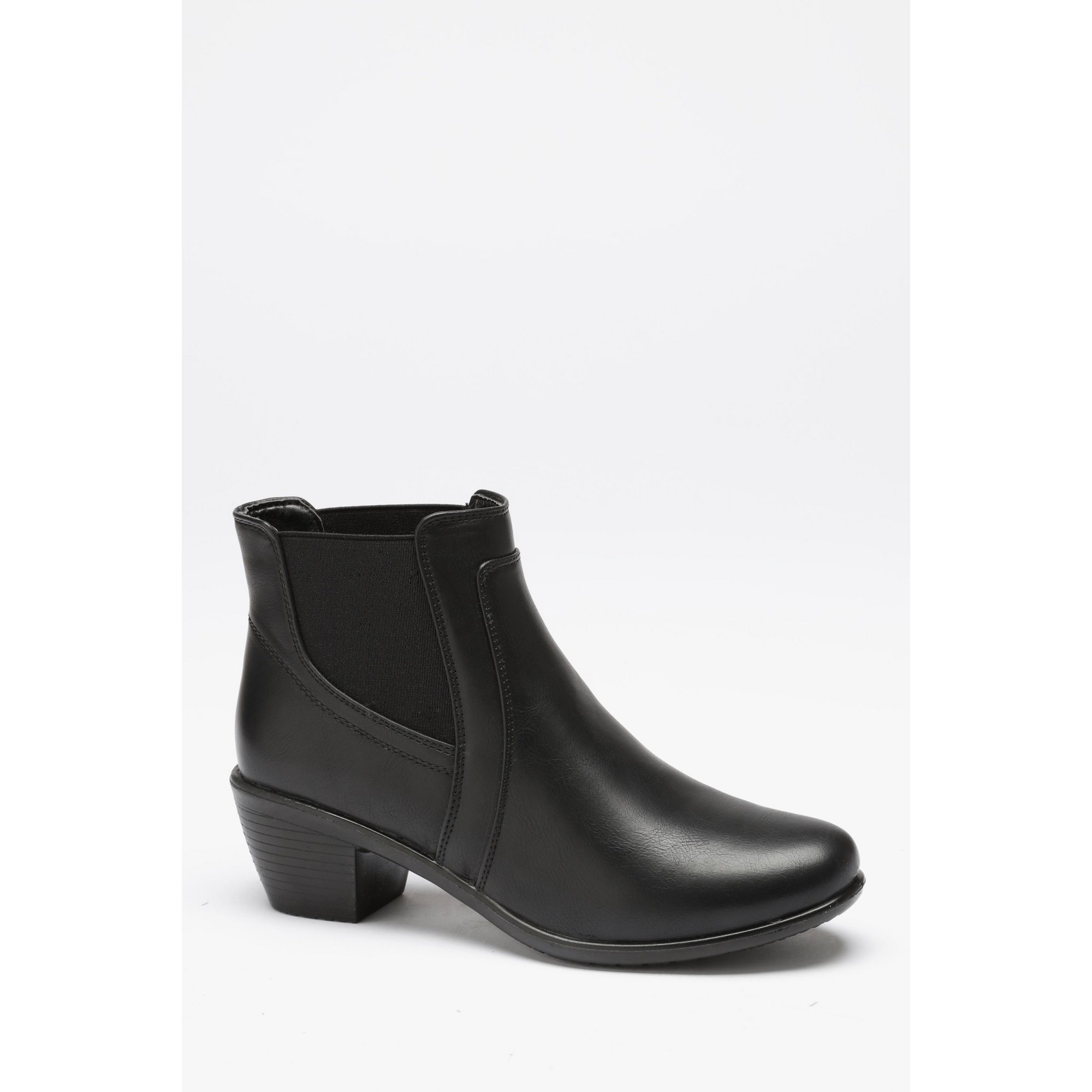 Image of Cushion Walk Double Gusset Ankle Black Boots