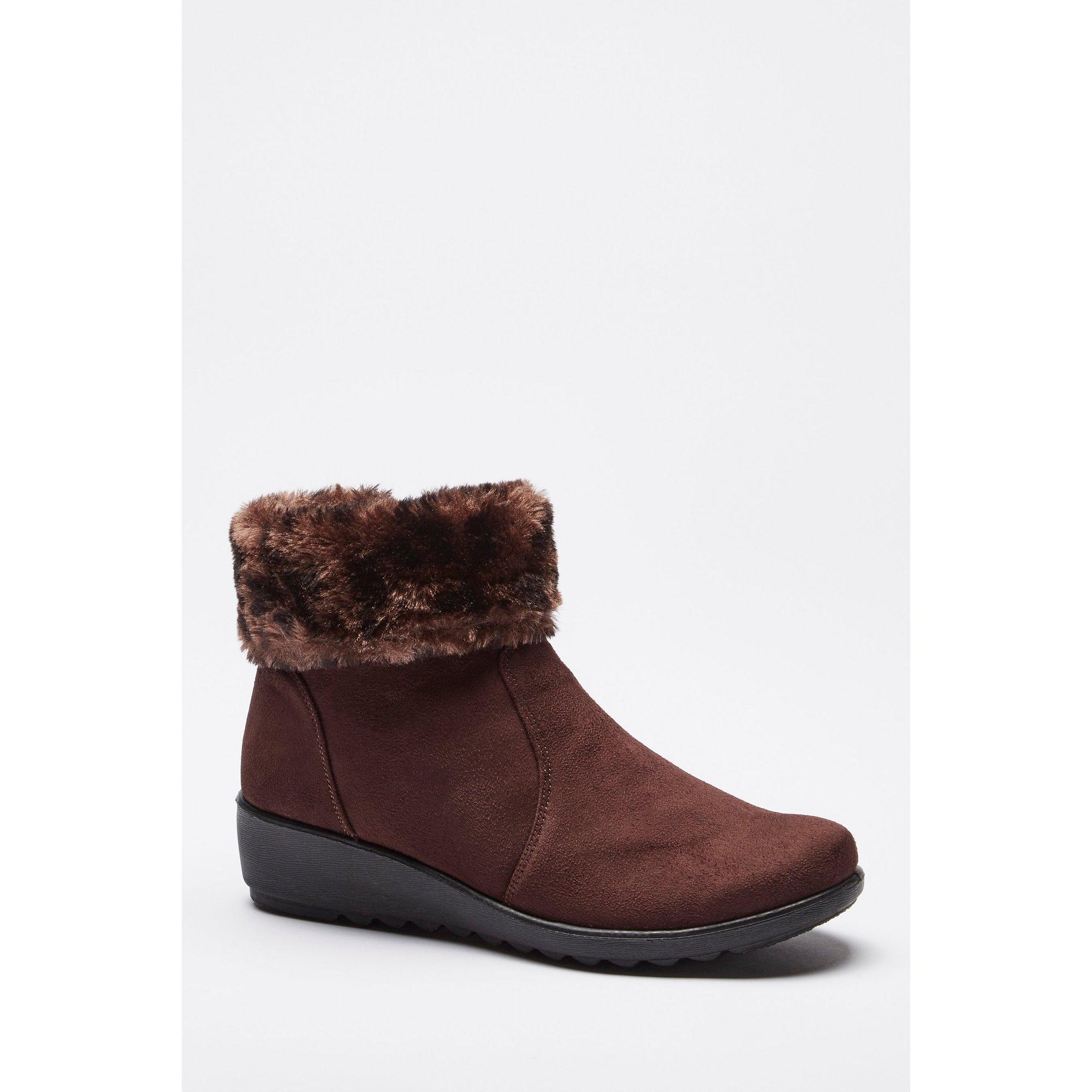 Image of Cushion Walk Animal Faux Fur Brown Boots