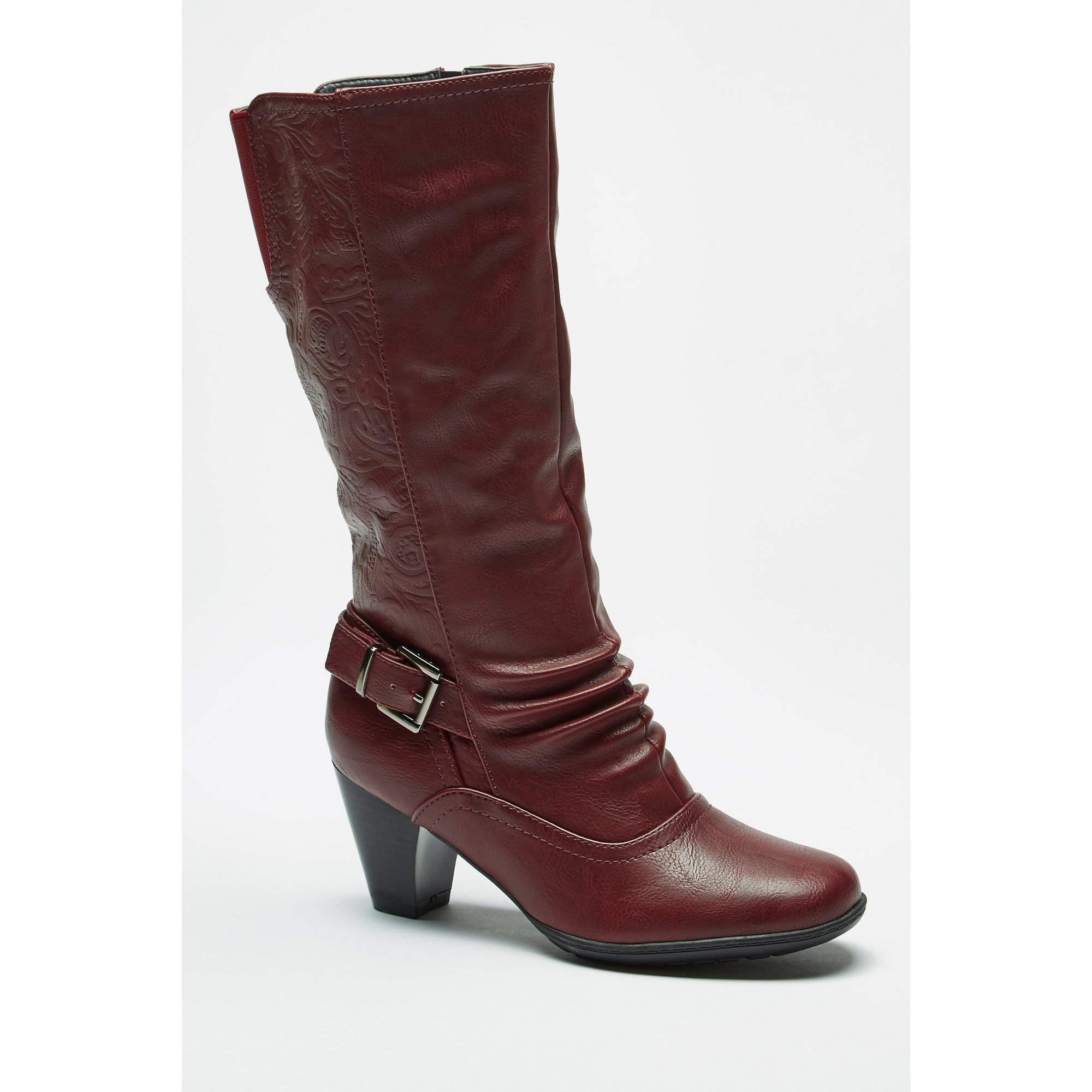 Image of Cushion Walk Embossed Floral Tall Cone Heel Burgundy Boots