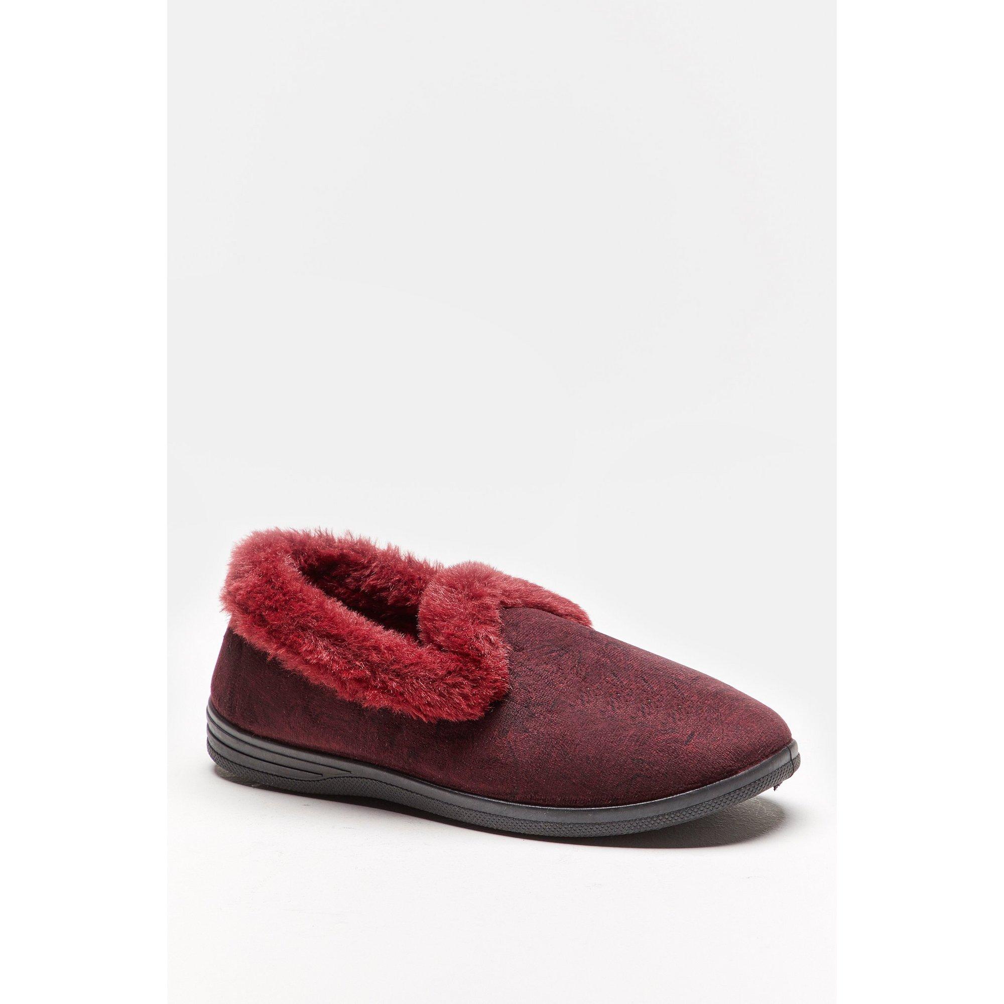 Image of Cushion Walk Floral Velvet Burgundy Slippers