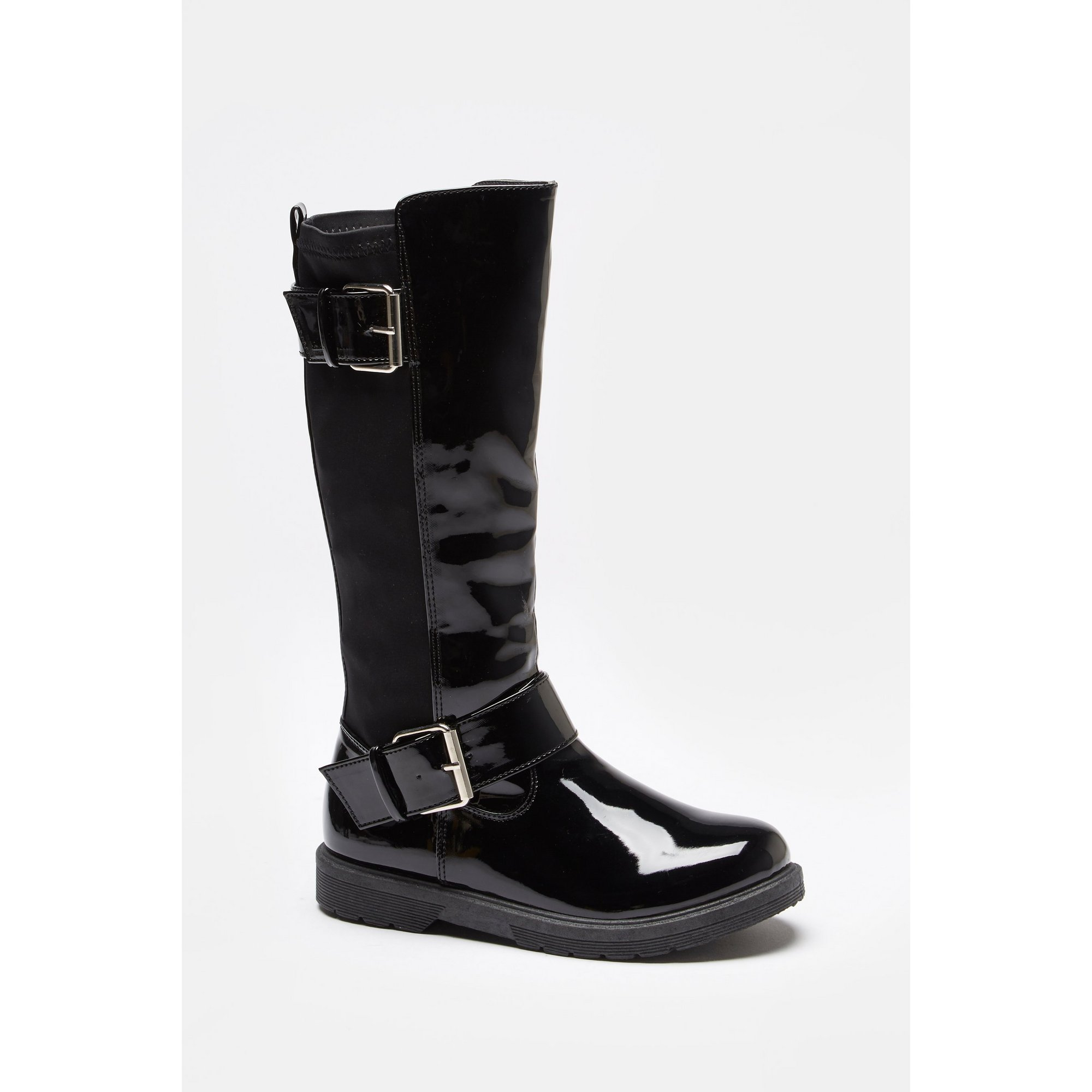 Image of Girls Long Patent Buckle Boots