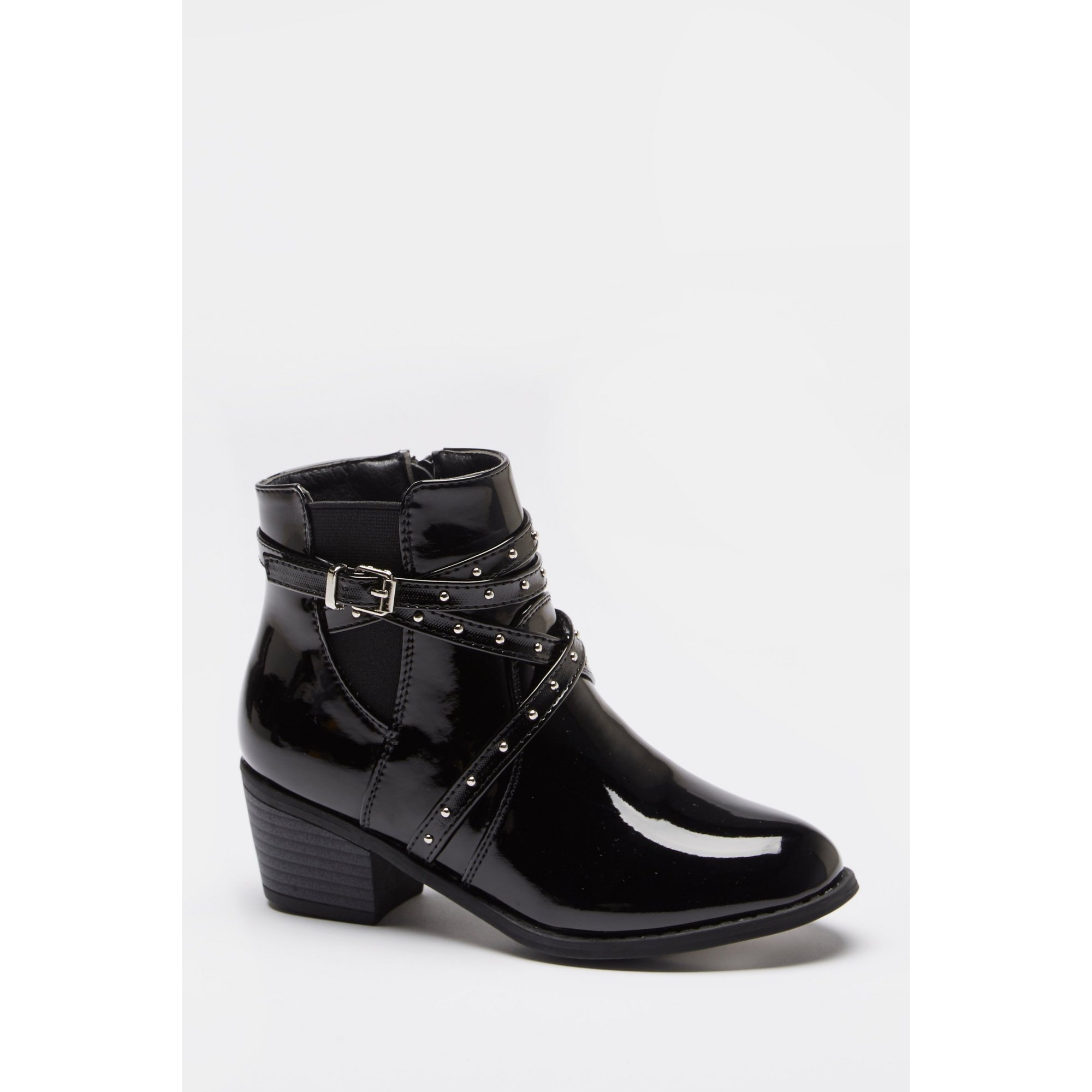 Image of Older Girls Stud Strap Patent Heel Boots