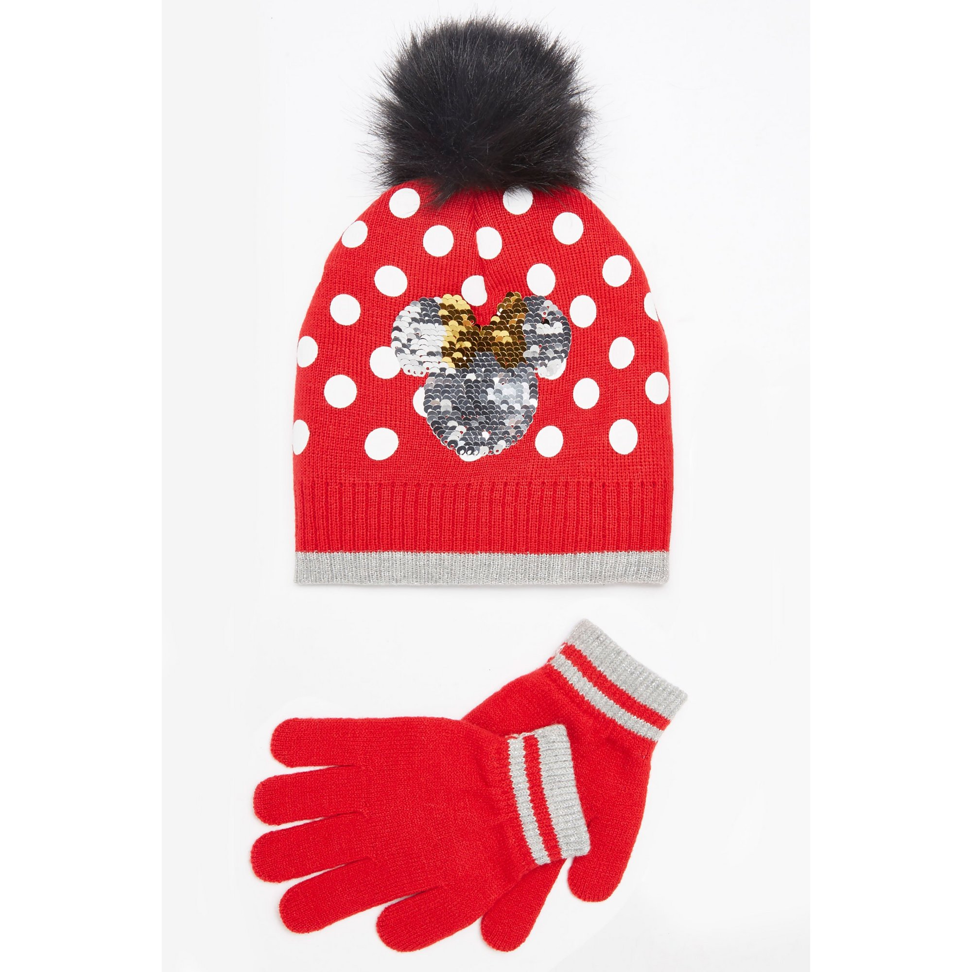 Image of Girls Minnie Mouse Hat and Gloves Set
