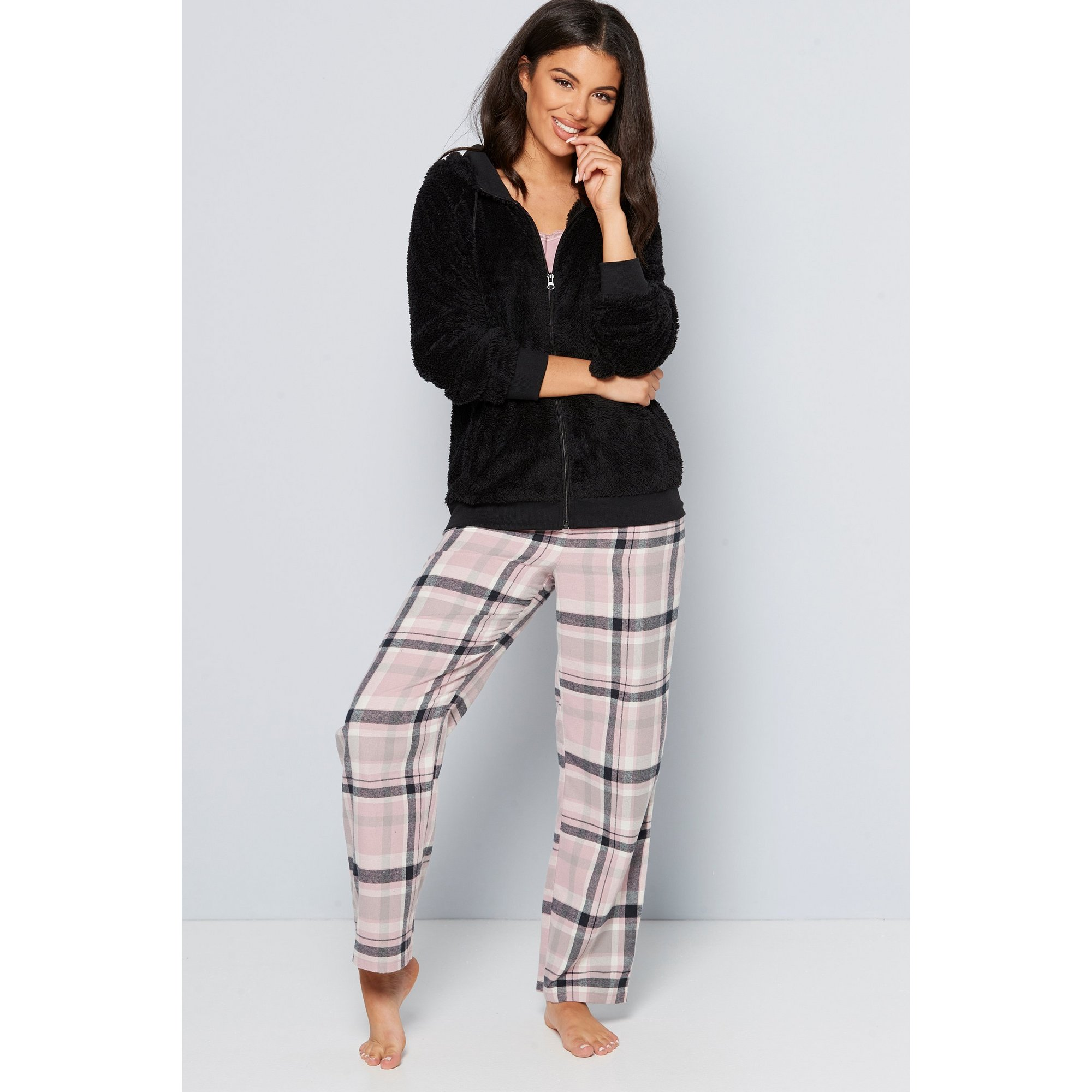 Image of Black and Pink Check Hooded Fleece 3-Piece Set