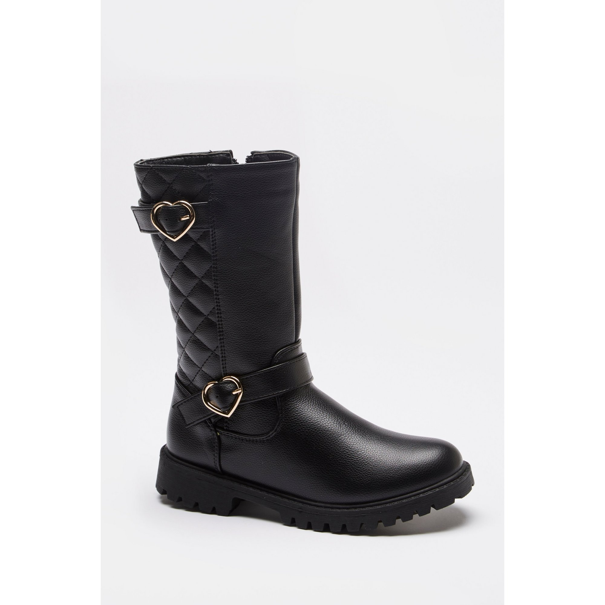 Image of Girls Quilted Buckle Boots