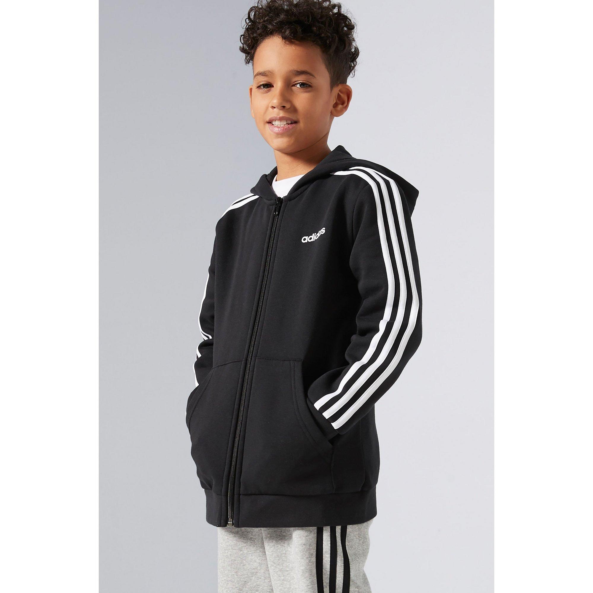 Image of Boys adidas Essentials 3-Stripes Black Zip Through Hoody