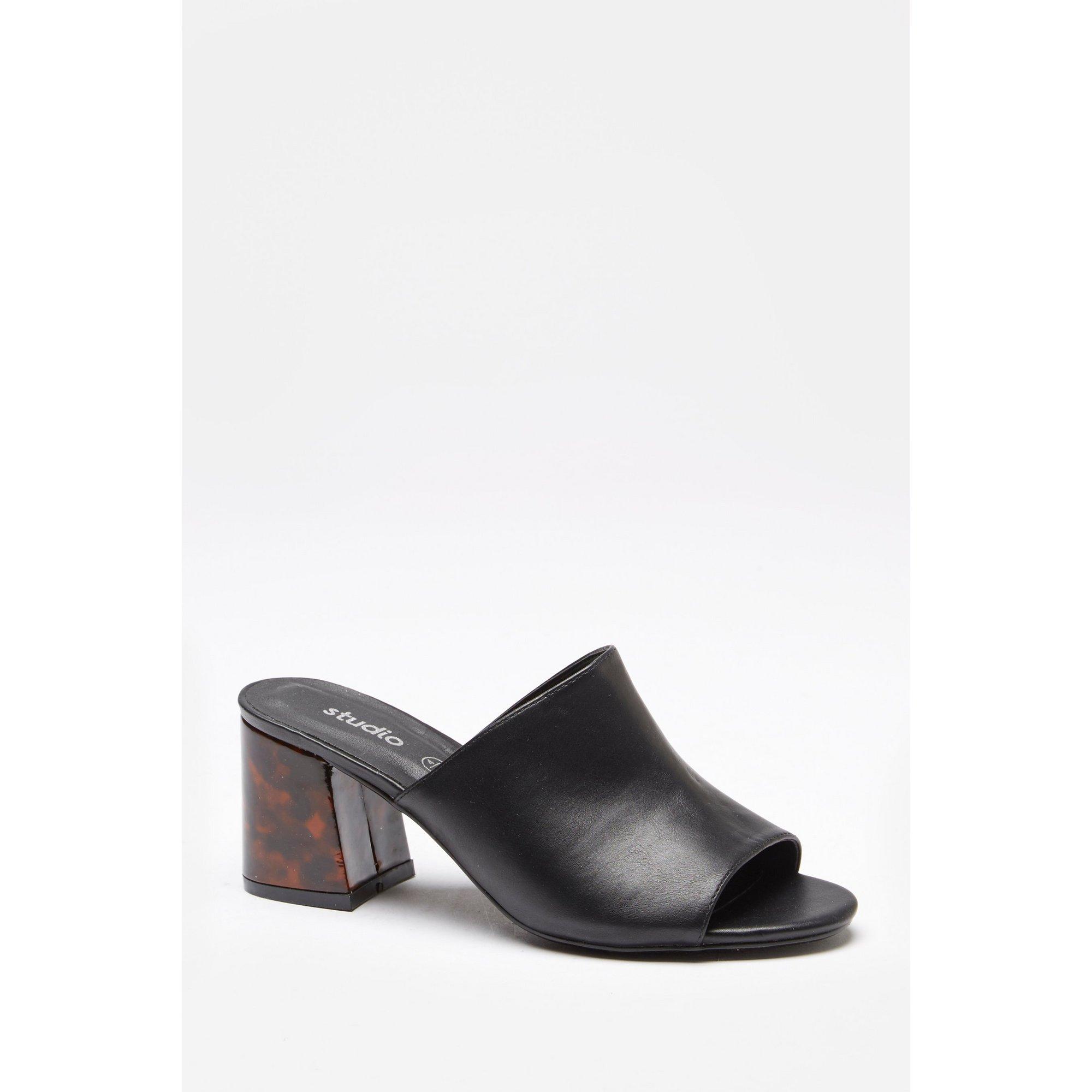 Image of Block Heel Mule Shoes