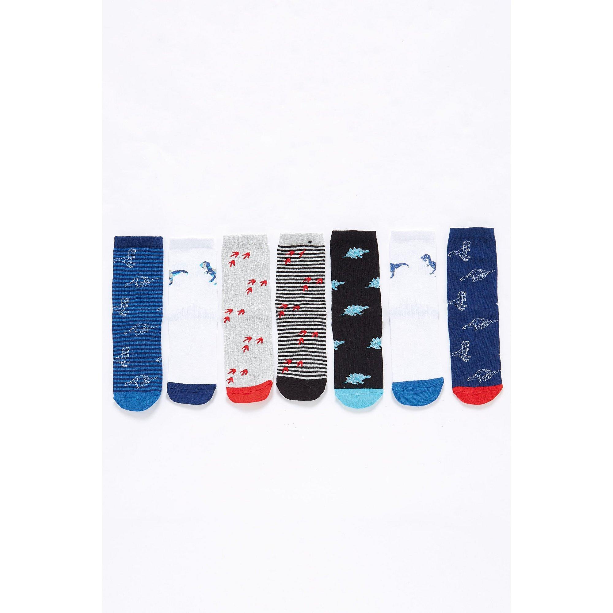 Image of Boys Pack of 7 Dino Socks