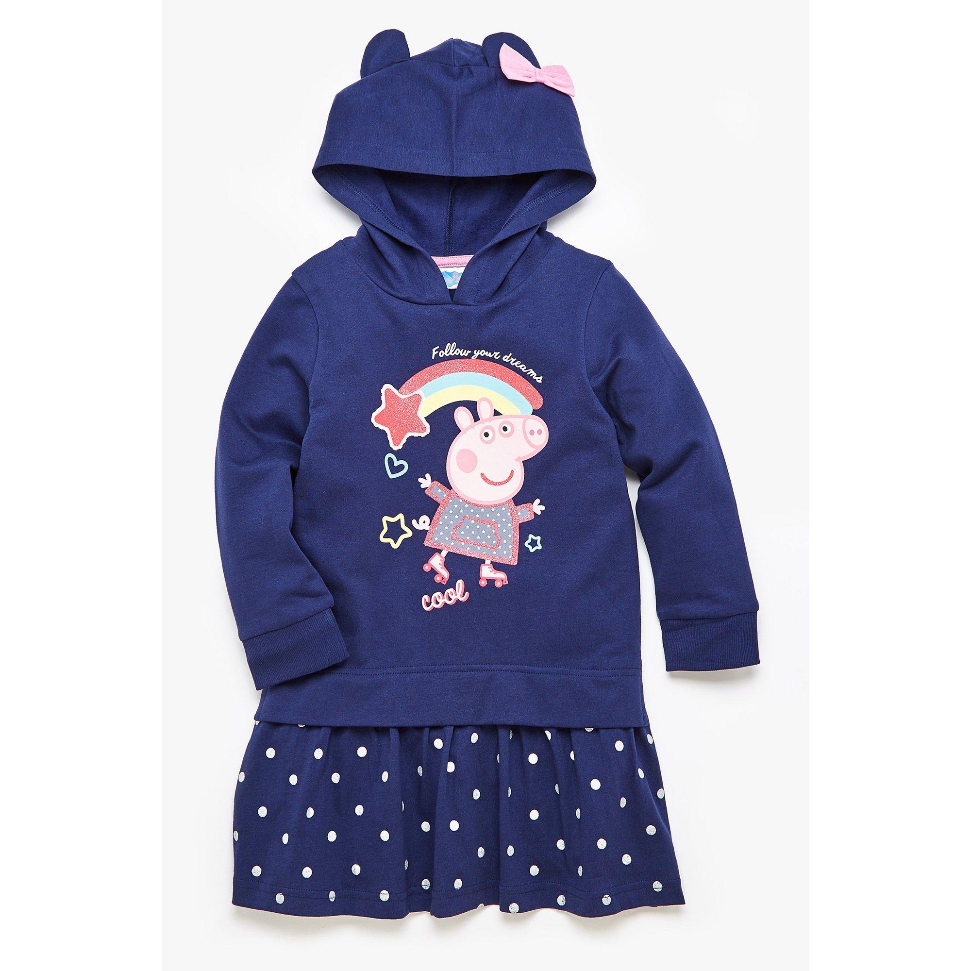 Image of Girls Peppa Pig Navy Hooded Sweatdress