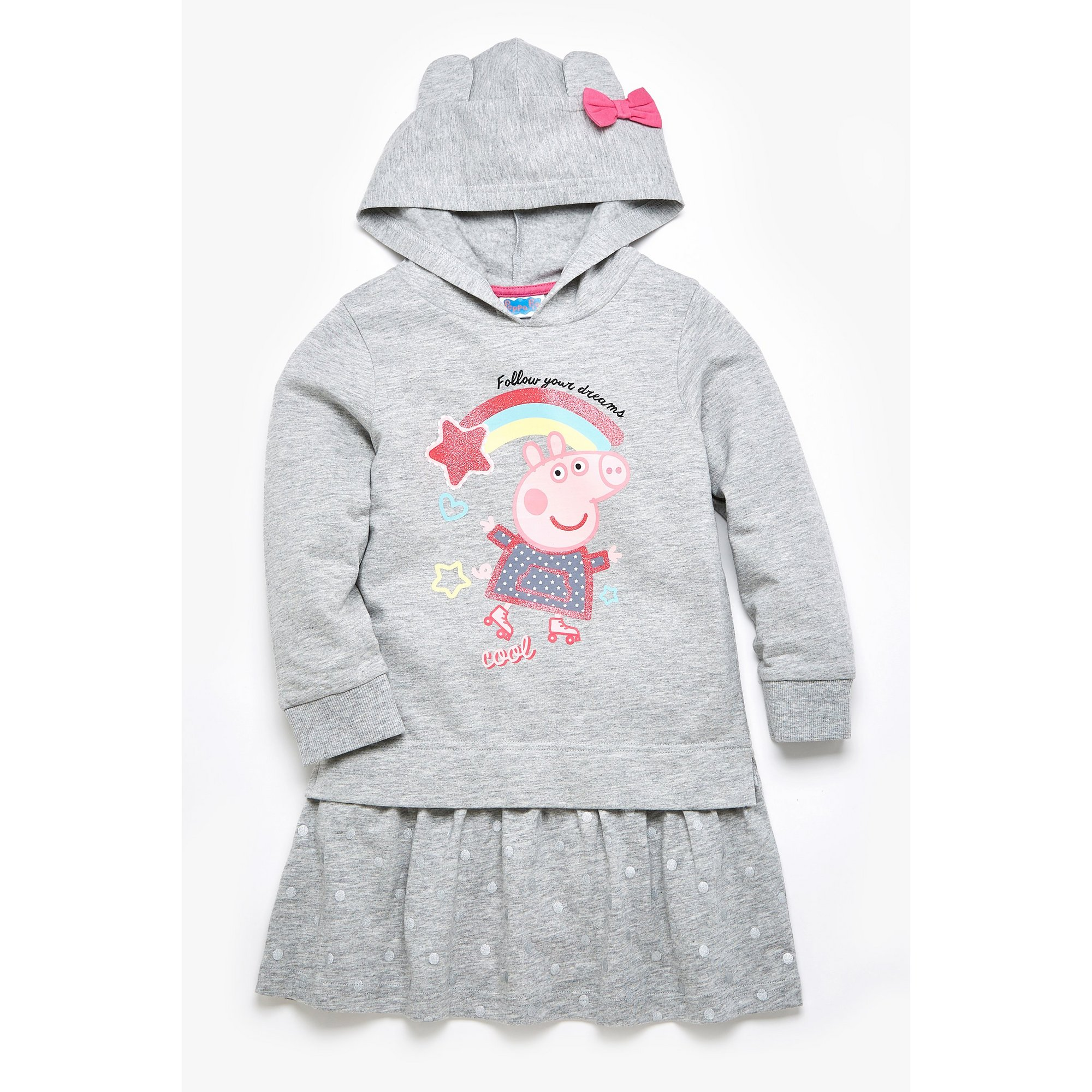 Image of Girls Peppa Pig Grey Hooded Sweatdress