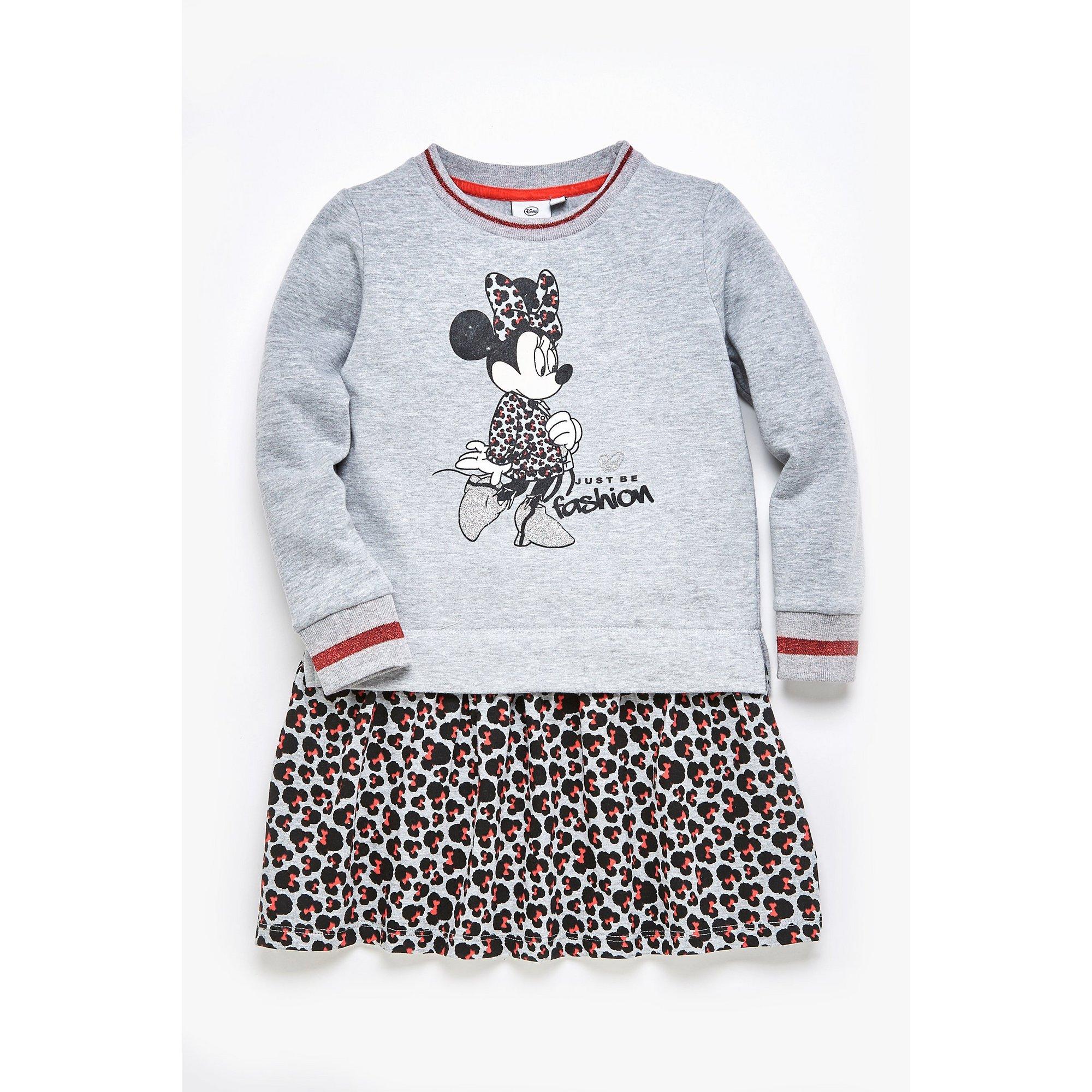 Image of Girls Minnie Mouse Grey Leopard Sweatdress