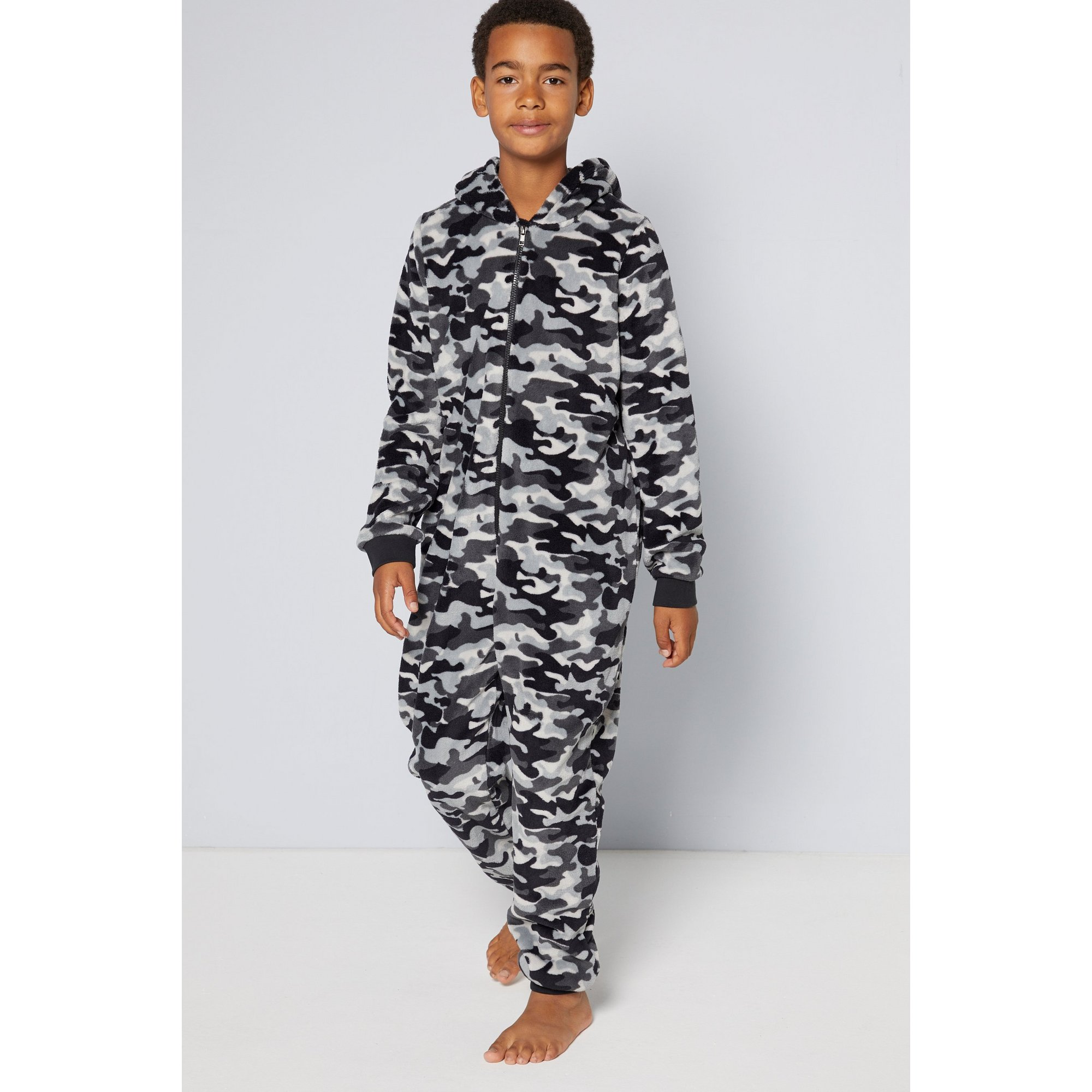 Image of Boys Hooded Mini Me Fleece Onesie