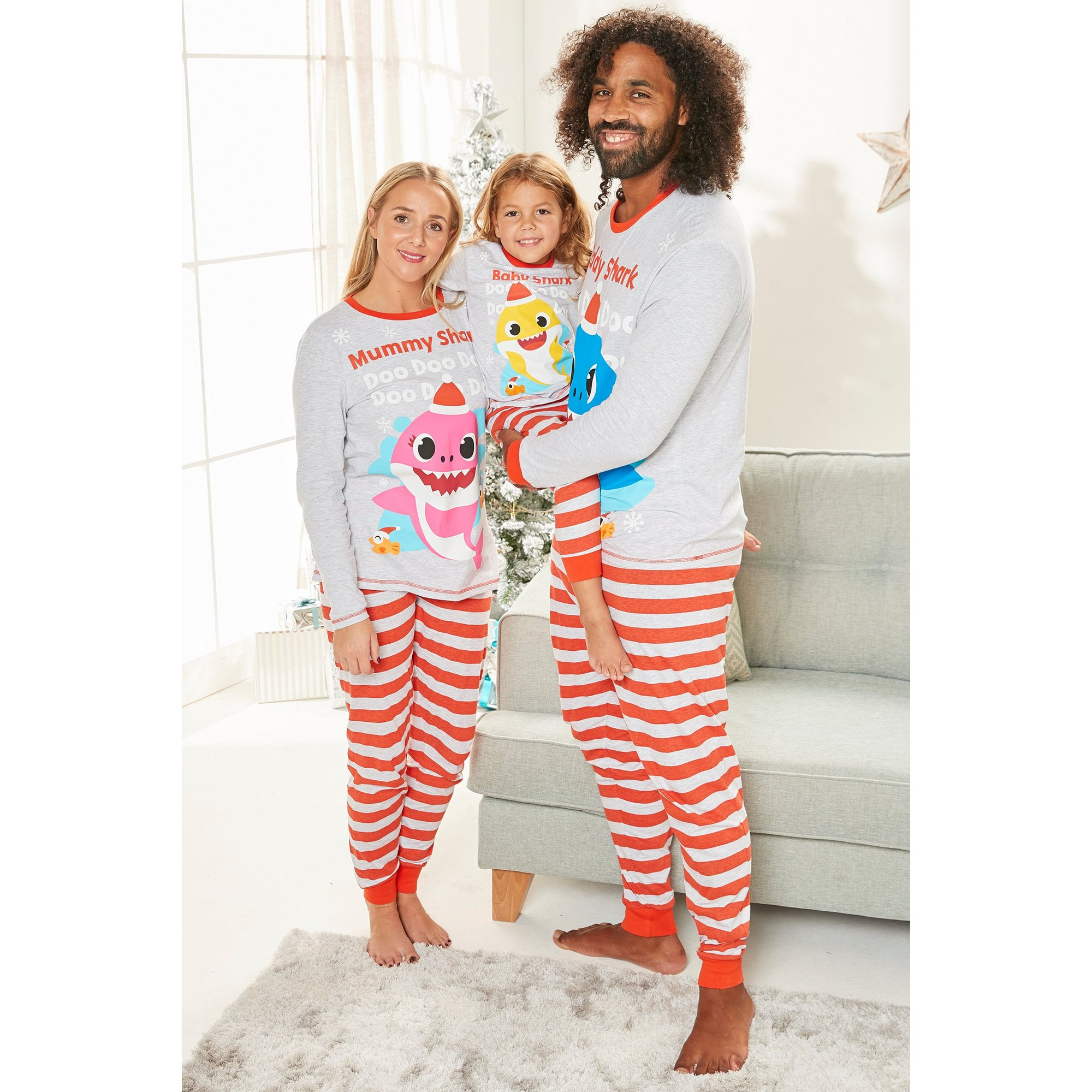 Image of Mens Family Daddy Baby Shark Christmas Pyjamas