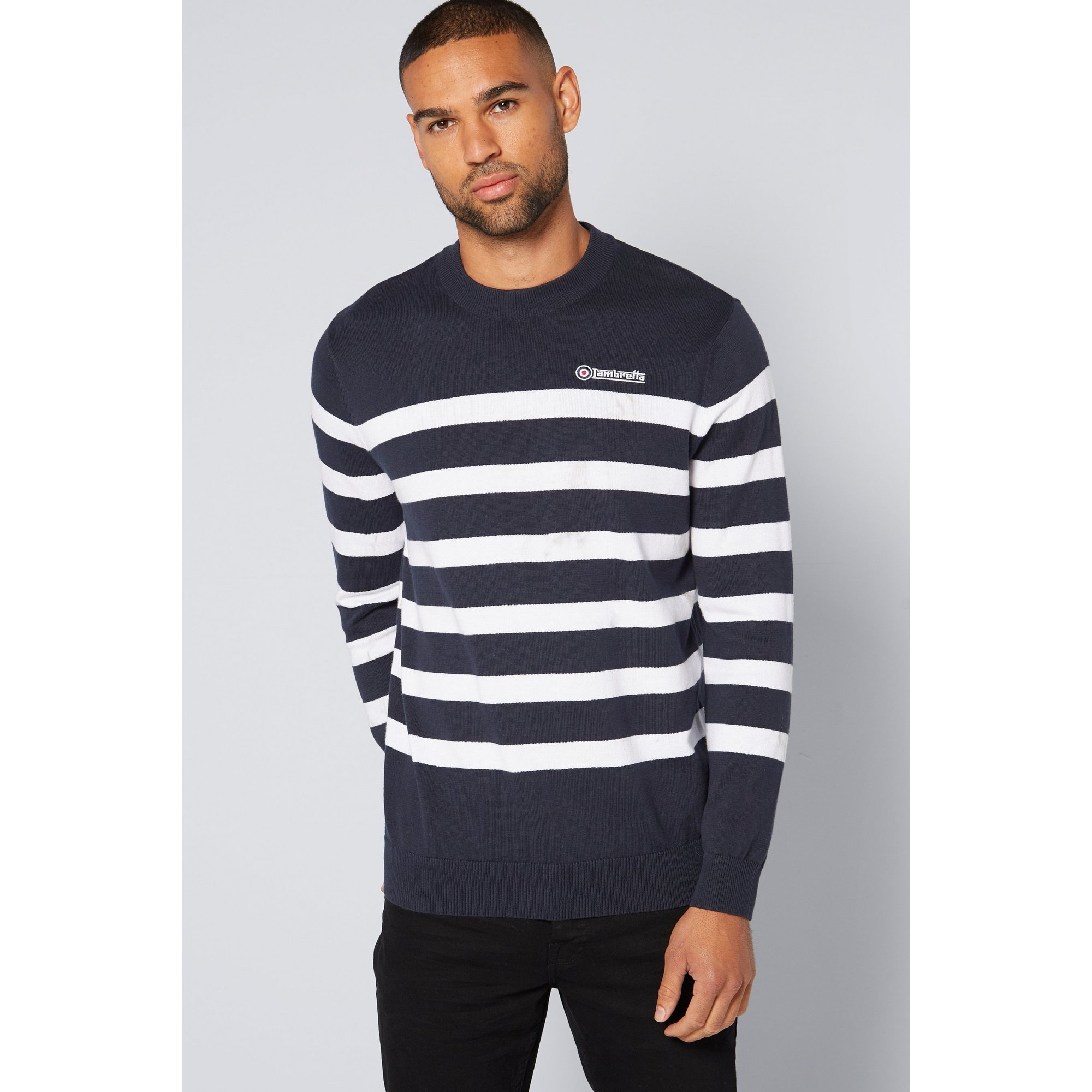 Image of Lambretta Navy and White Striped Knit