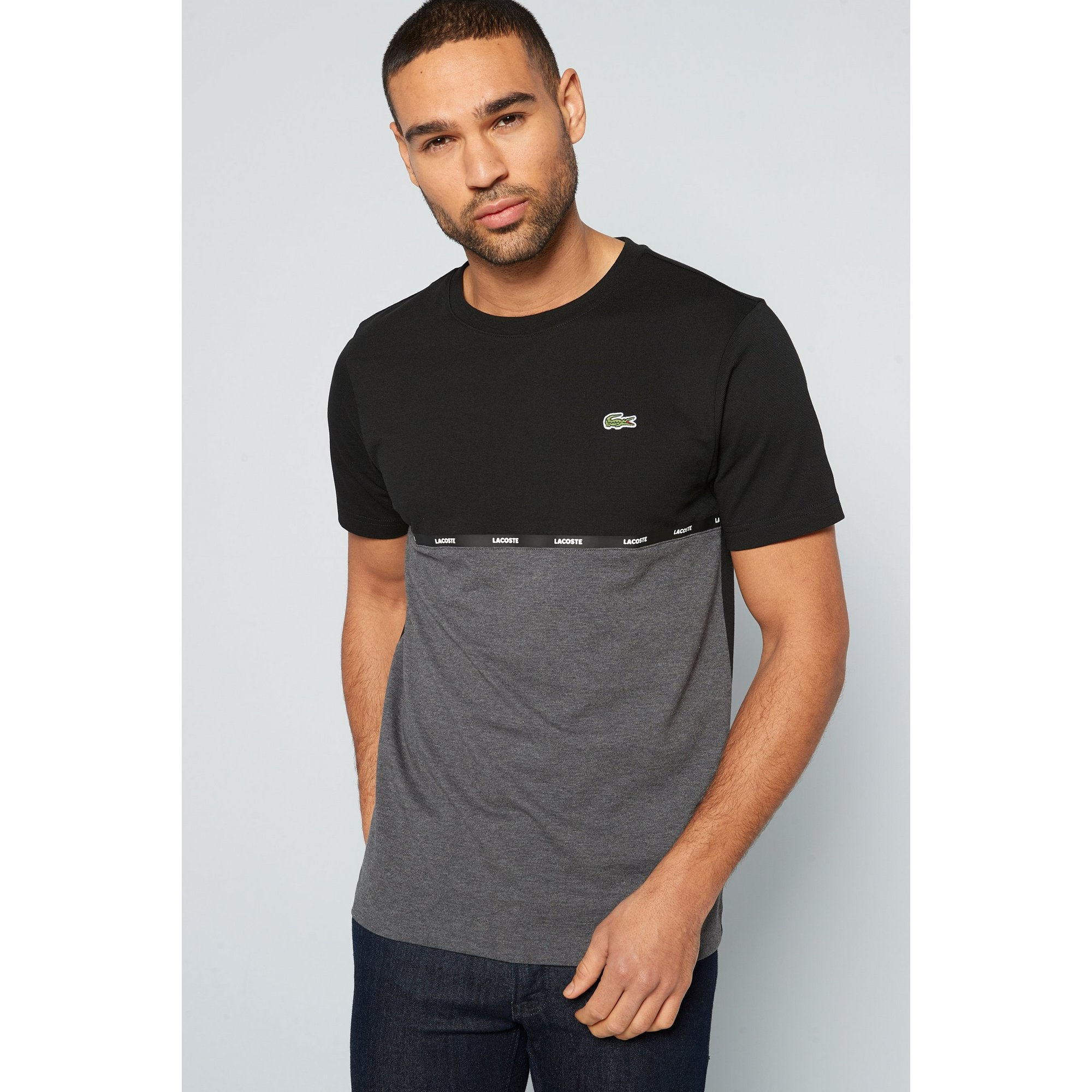 Image of Lacoste Black and Charcoal Crew Neck T-Shirt