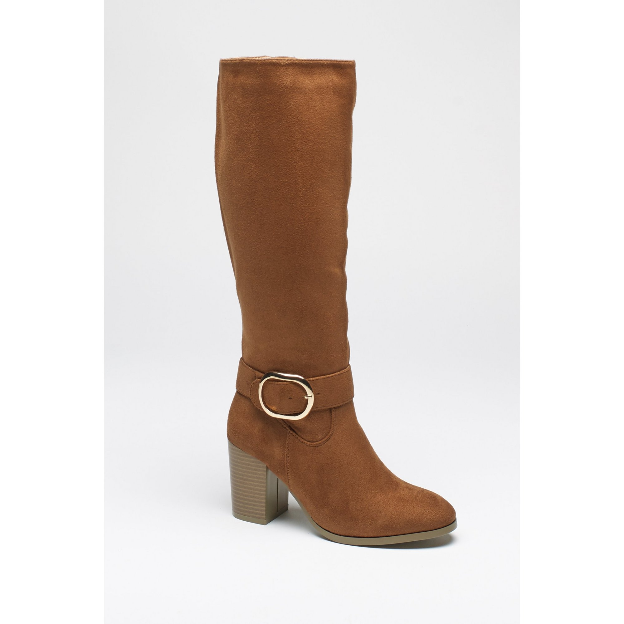 Image of Block Heel Long Boots with Buckle