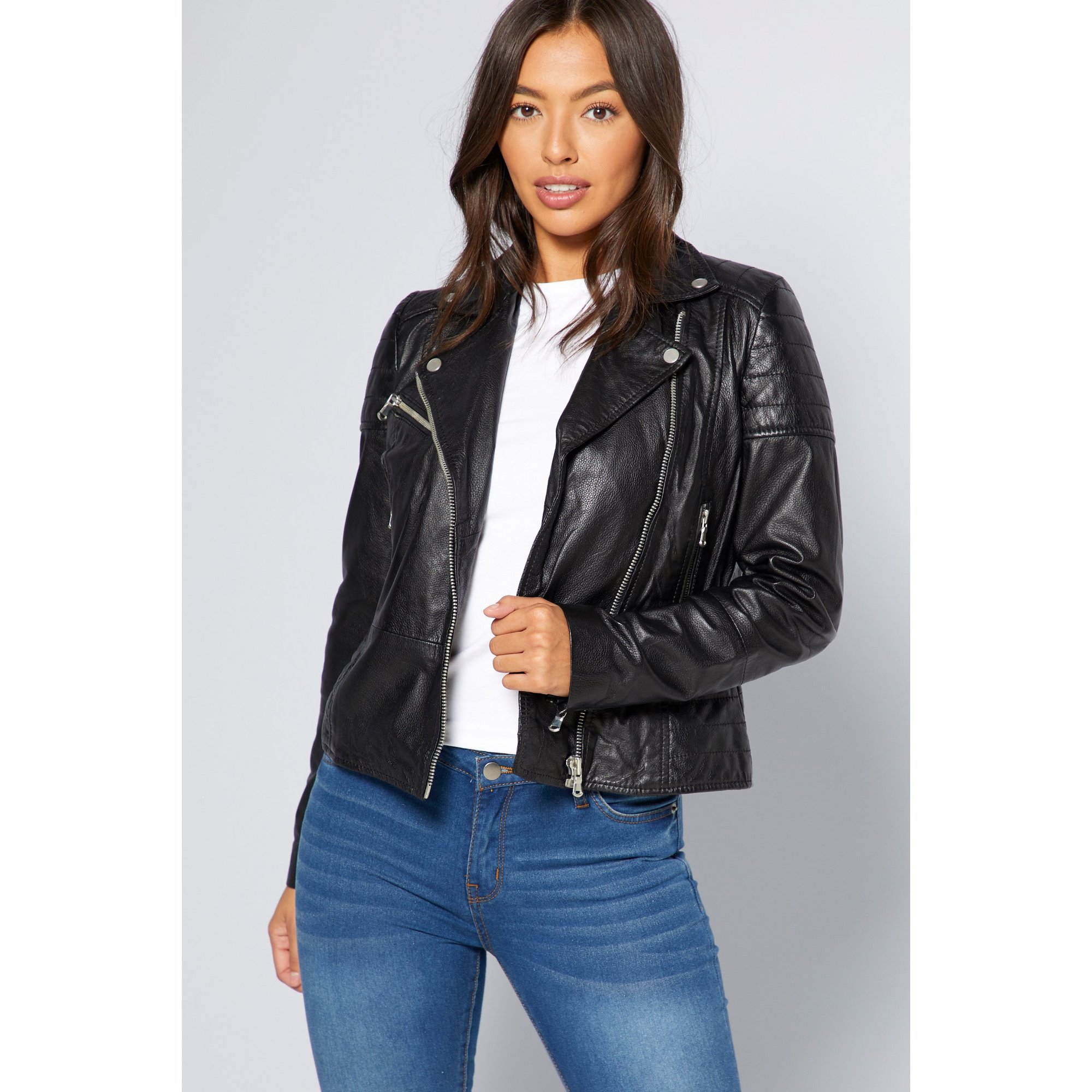 Image of Barneys Leather Zip Detail Biker Jacket