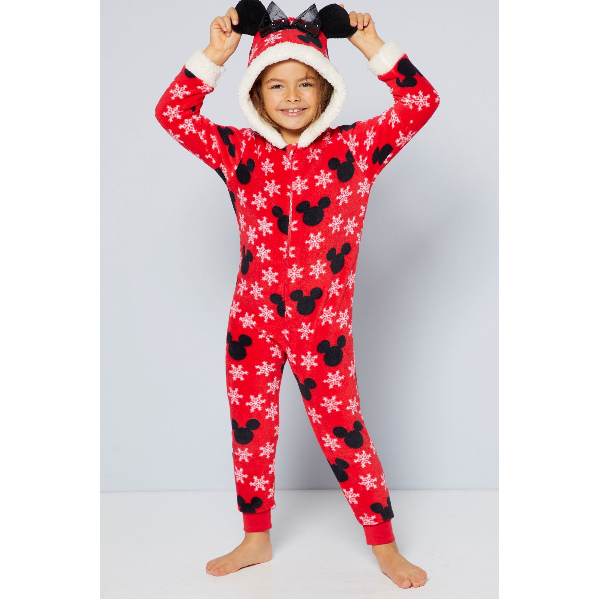 Image of Girls Minnie Mouse Ears Hooded Christmas Onesie Pyjamas with Bow