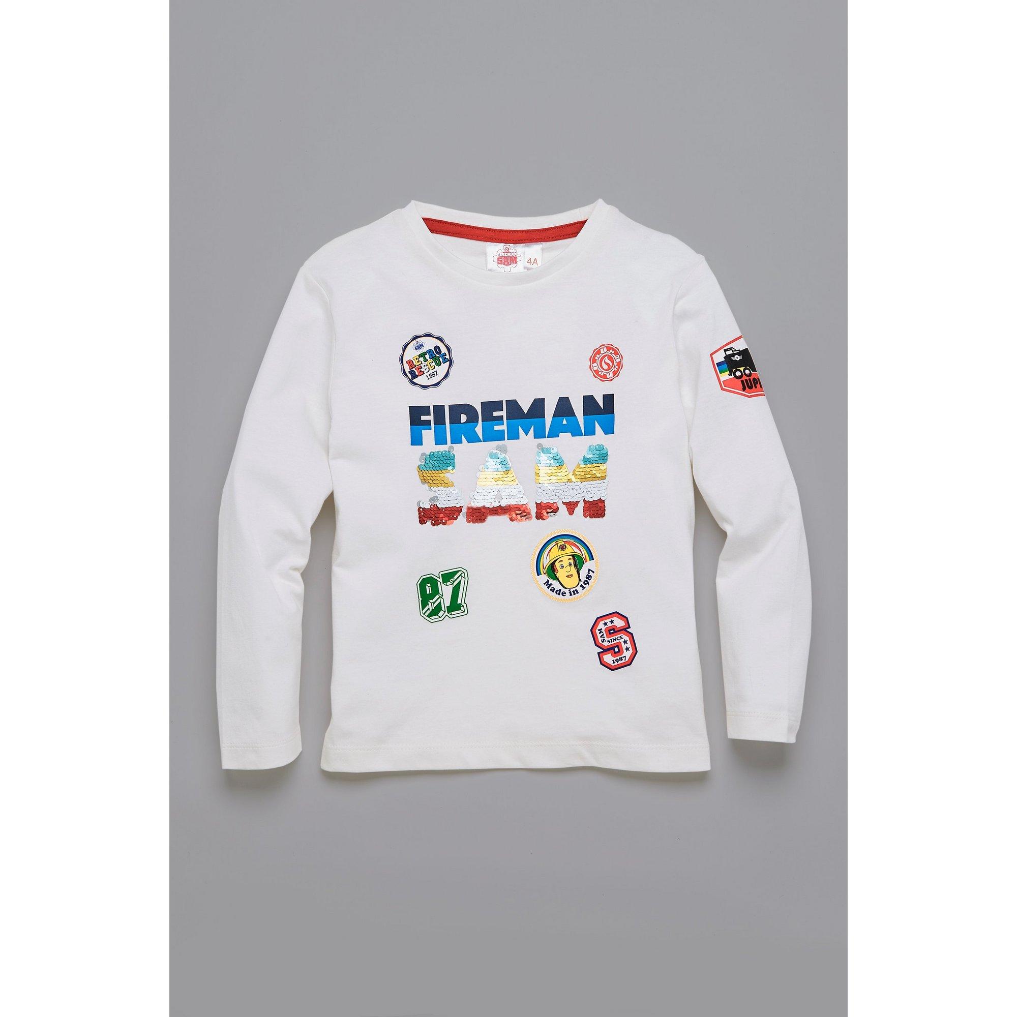 Image of Boys Fireman Sam Reversible Sequins T-Shirt