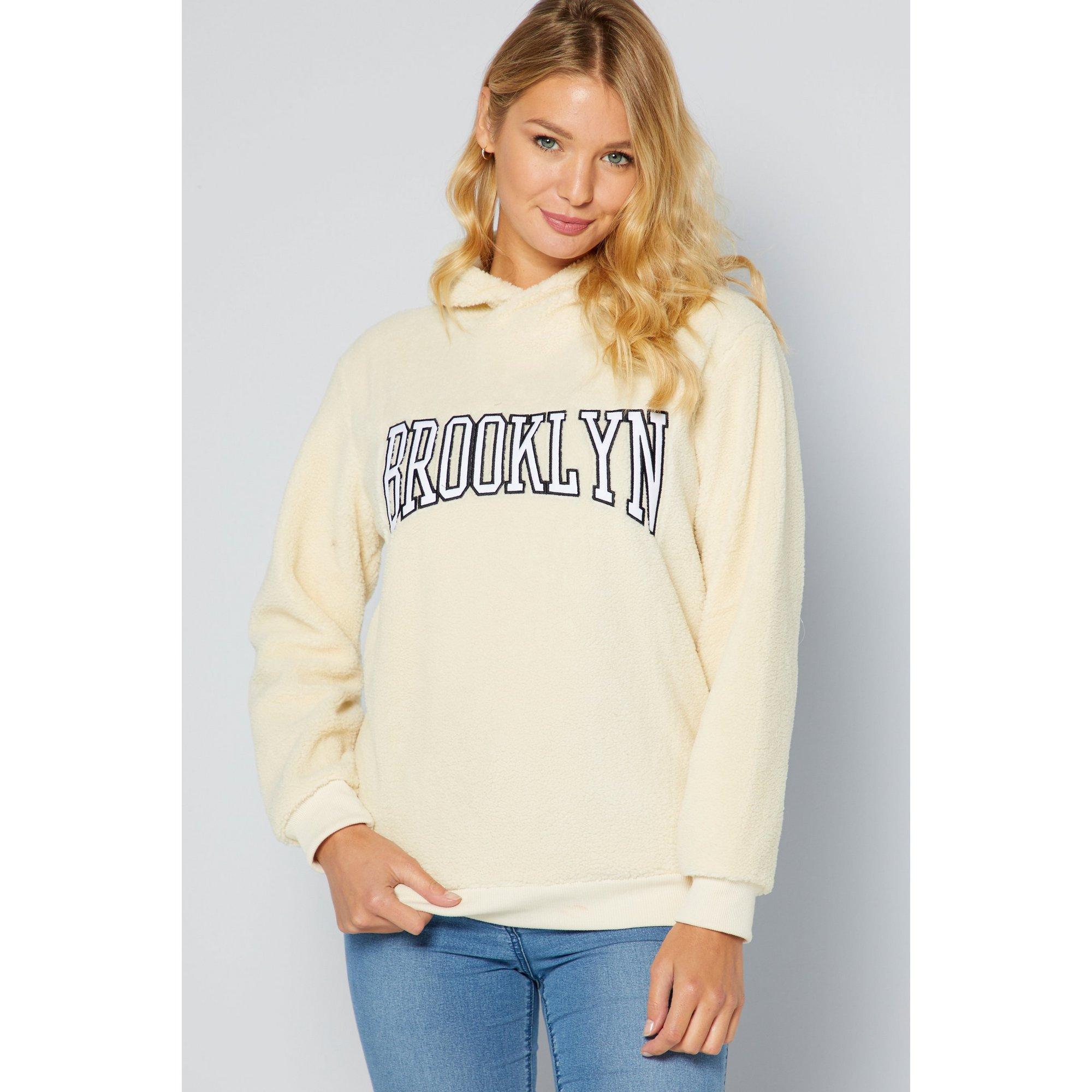 Image of Brave Soul Sherpa Fleece Brooklyn Cream Hooded Sweatshirt