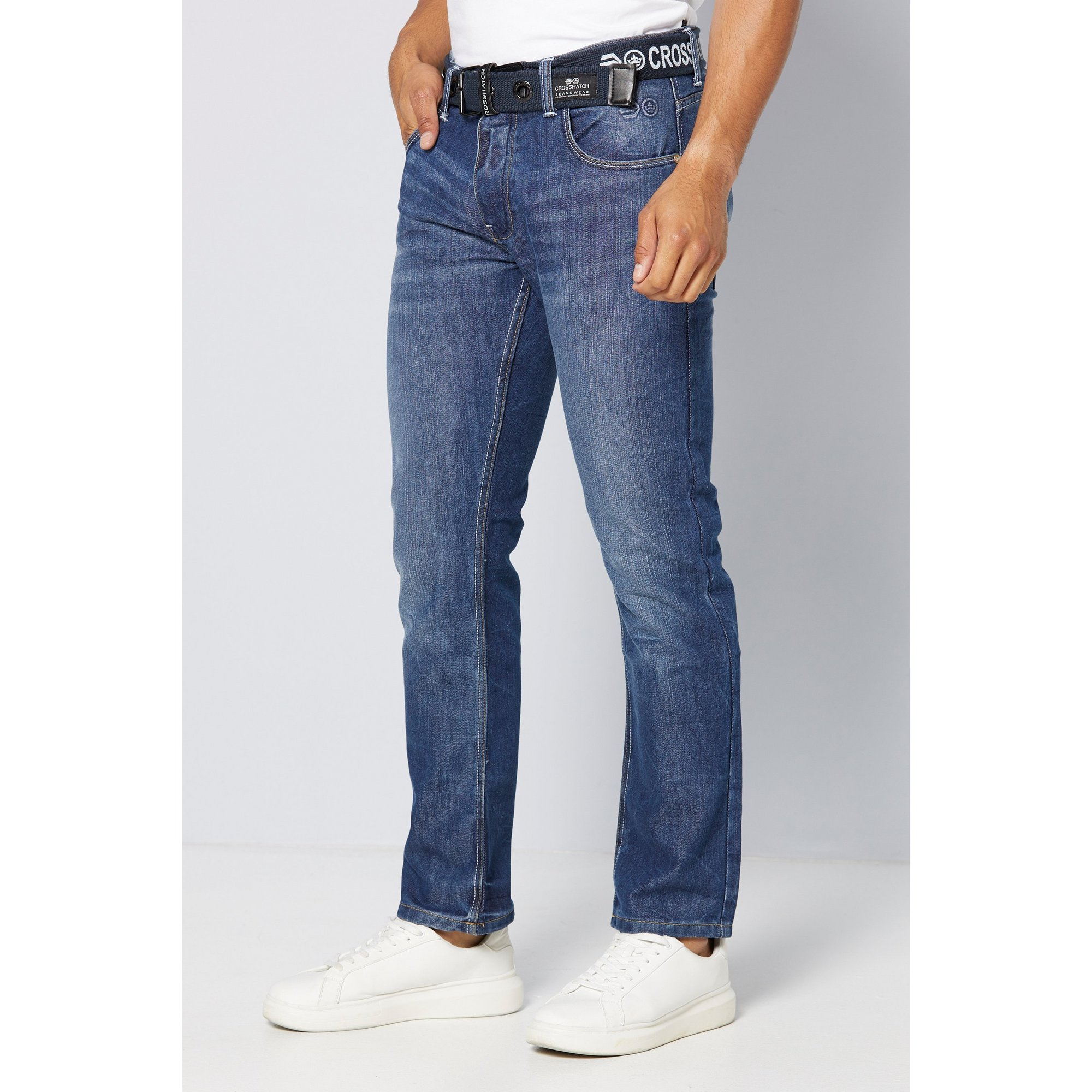 Image of Crosshatch Belted Back Print Straight Fit Jeans