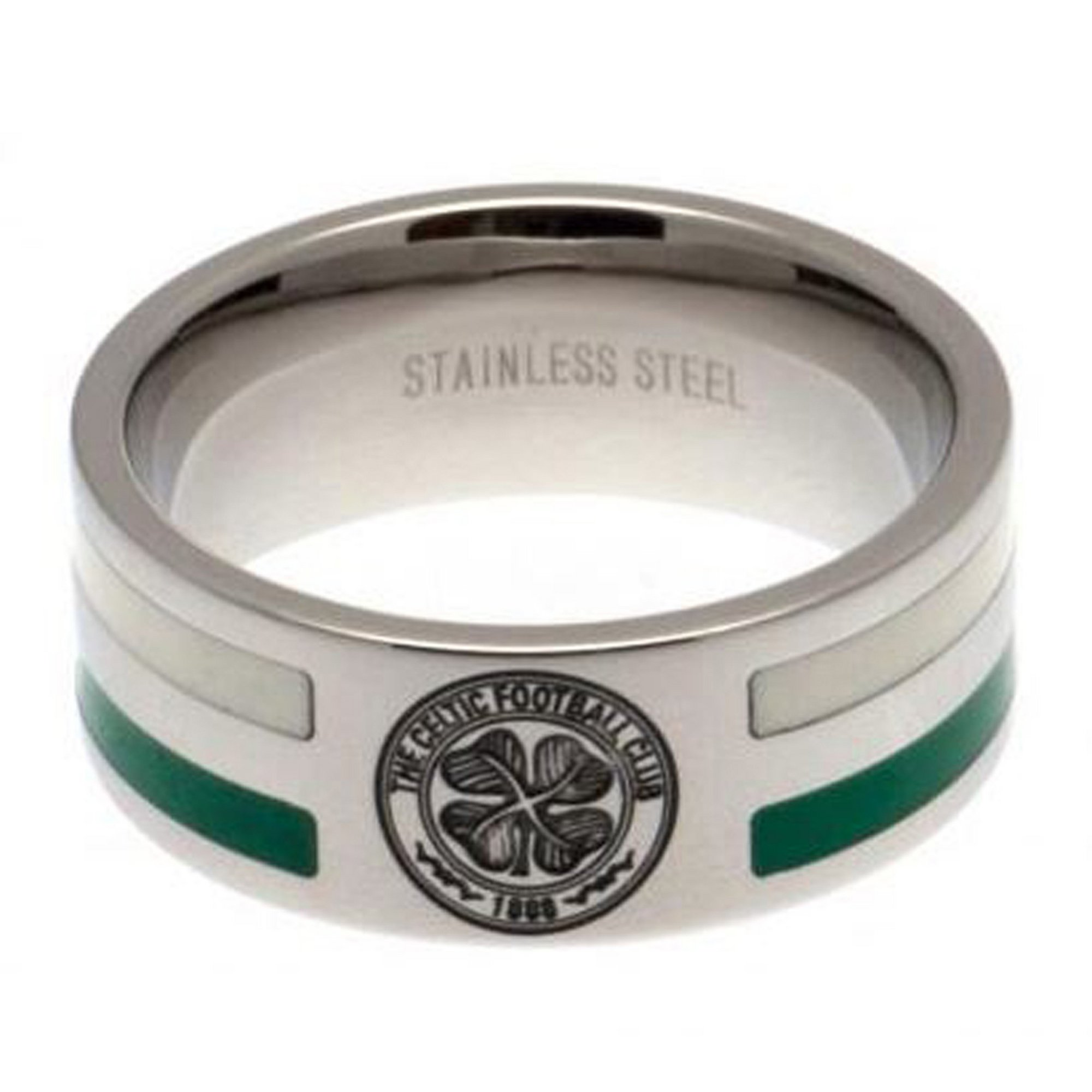 Image of Celtic FC Stainless Steel Colour Striped Crest Ring