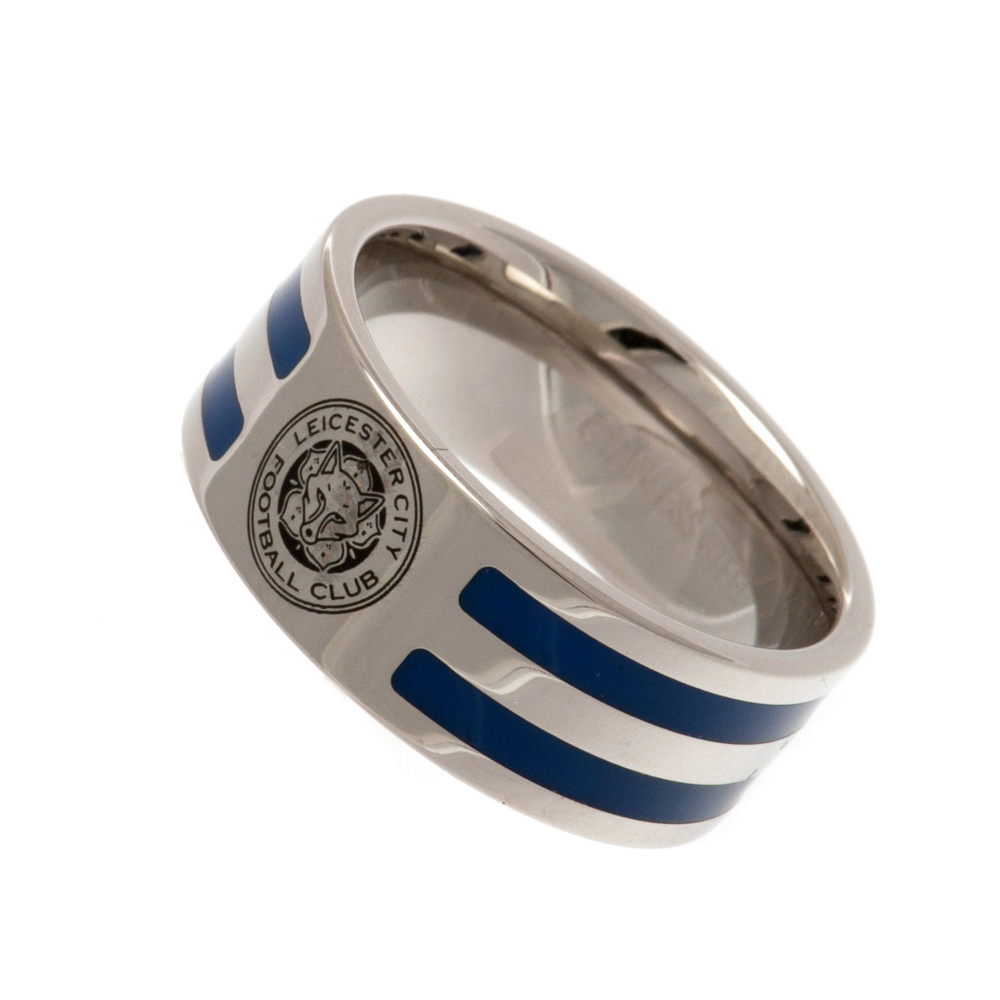 Image of Leicester City FC Stainless Steel Colour Striped Crest Ring