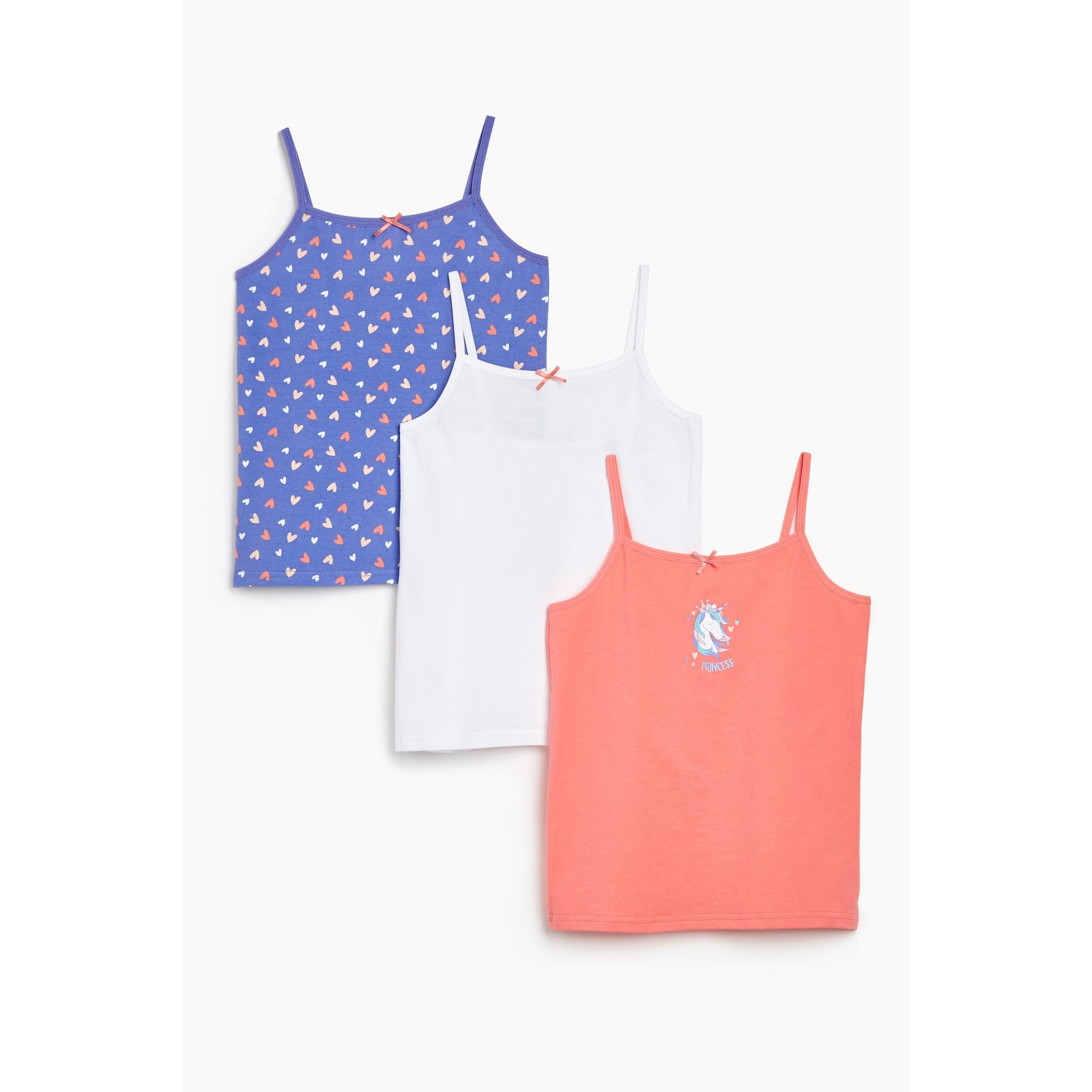 Image of Girls Pack of 3 Pink/Purple Unicorn Heart Vests
