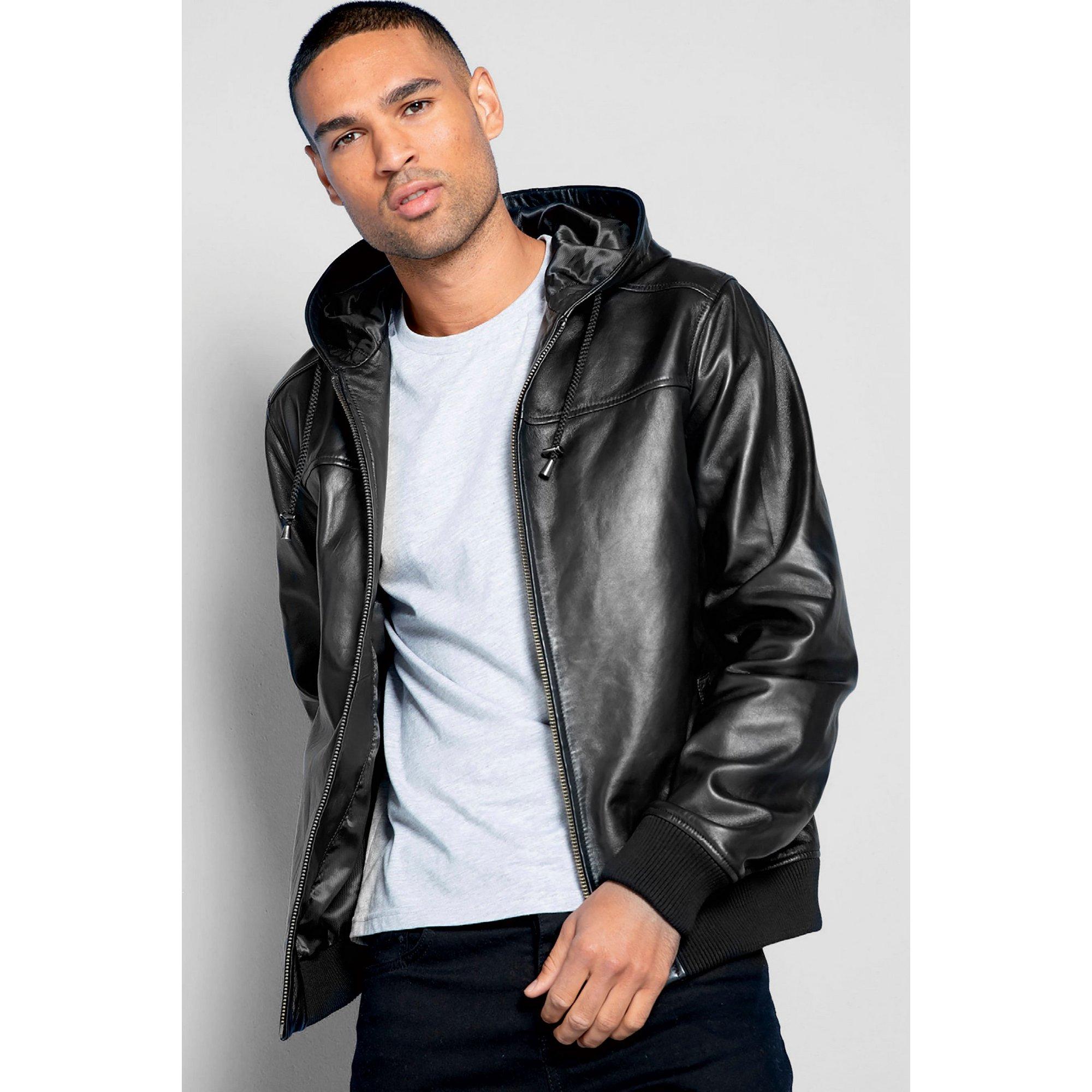 Image of Barneys Hooded Black Leather Jacket