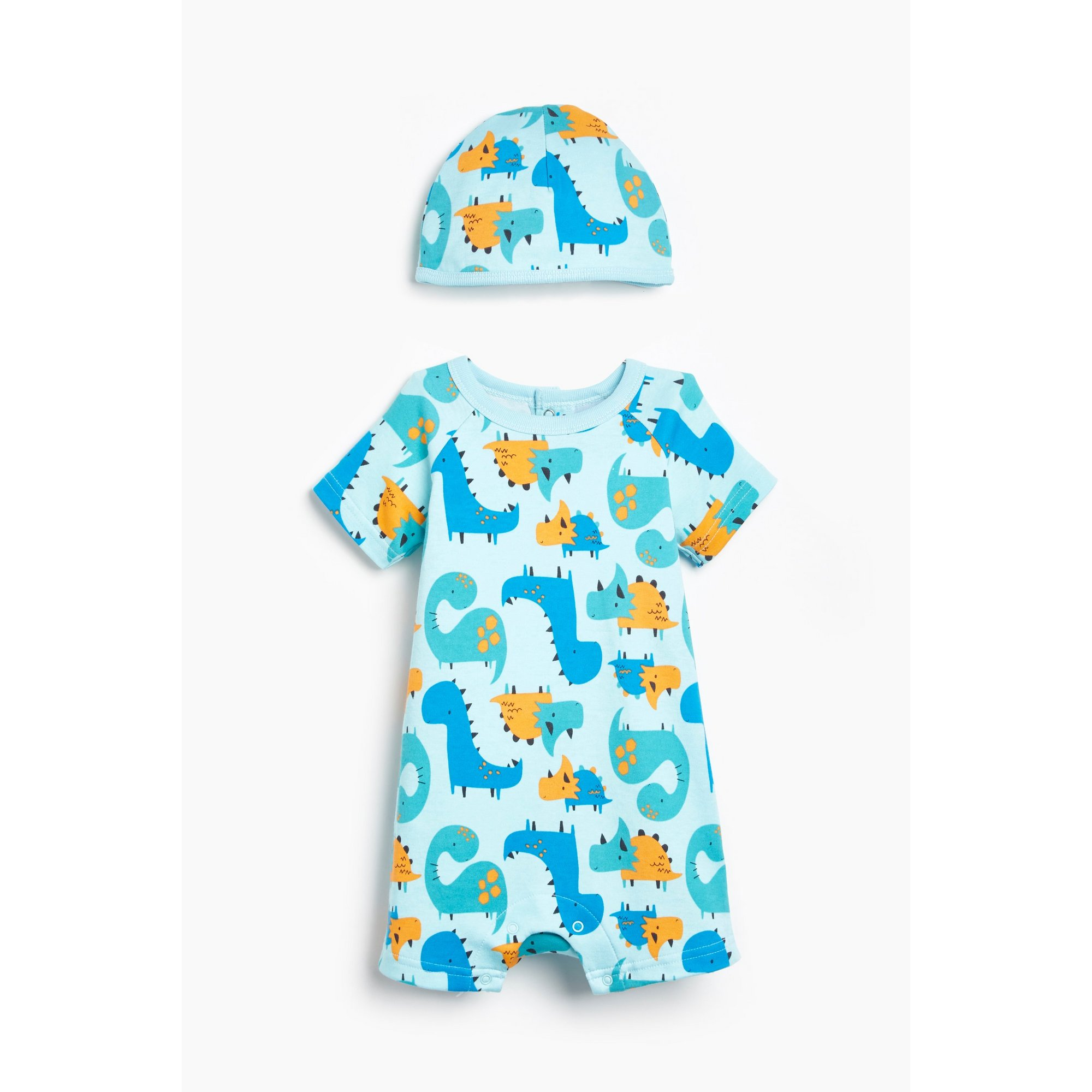 Image of Baby Boys 2-Piece Dinosaur Romper and Hat Set