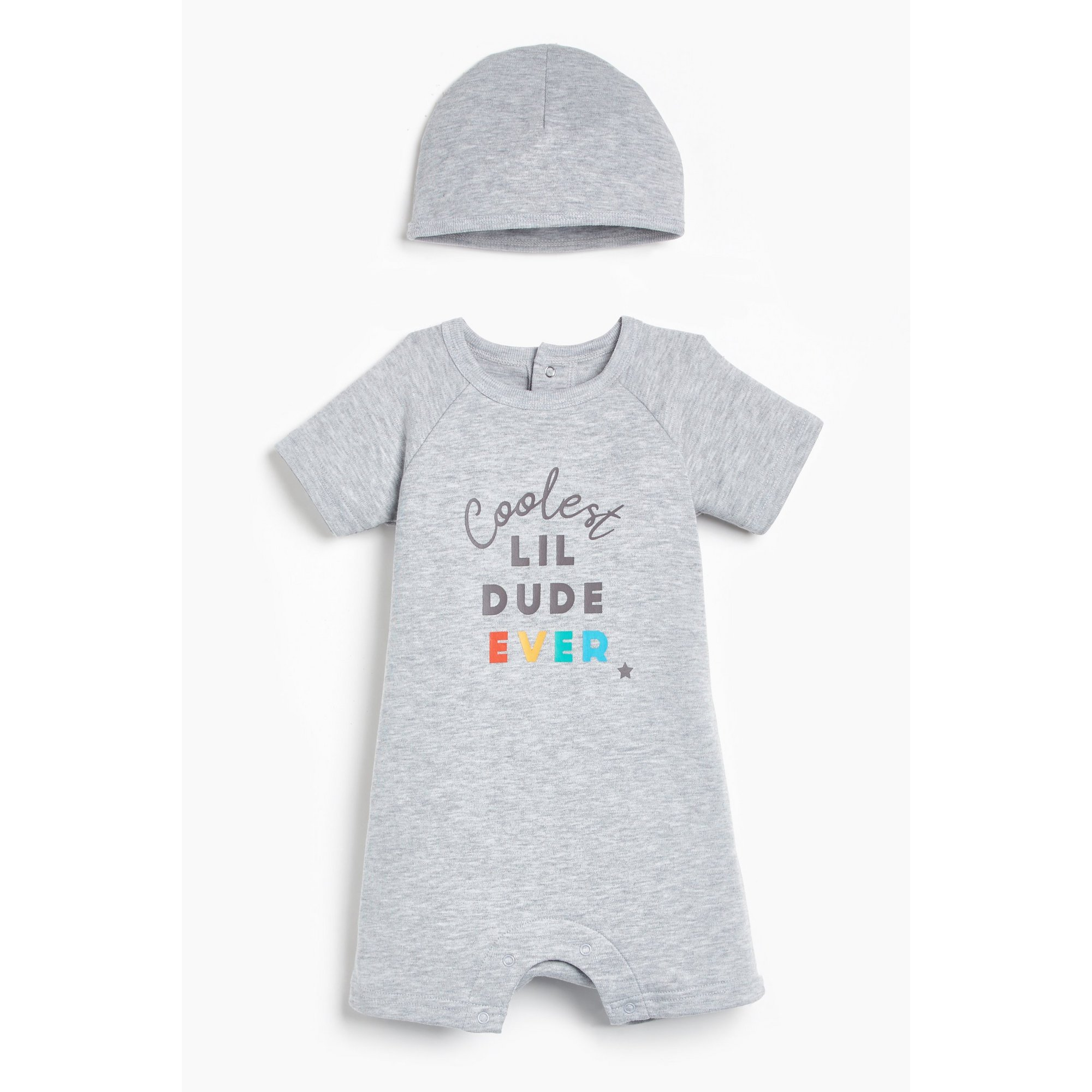 Image of Baby Boys 2-Piece Grey Marl Dude Slogan Romper and Hat Set