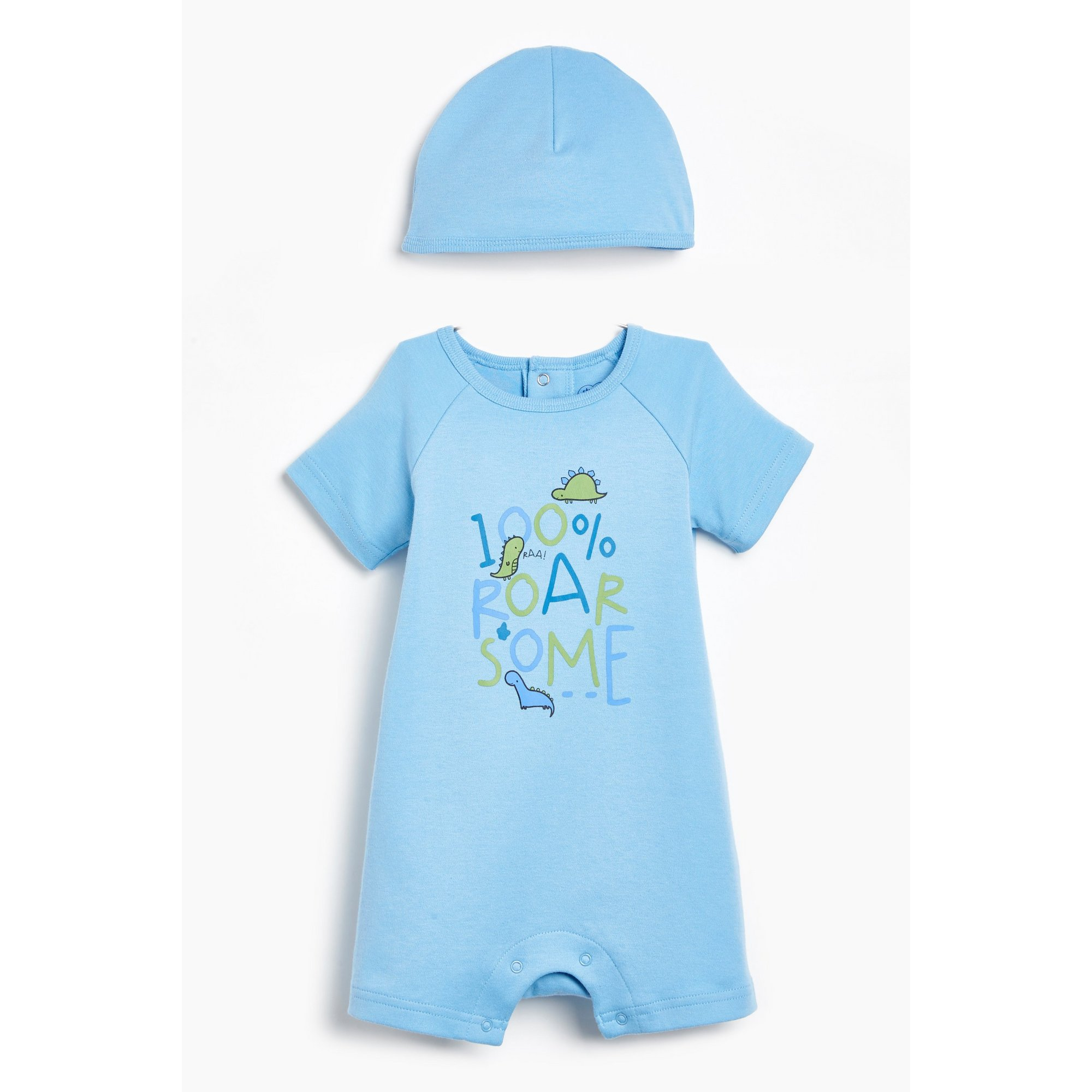 Image of Baby Boys 2-Piece Blue 100 Roarsome Romper and Hat Set