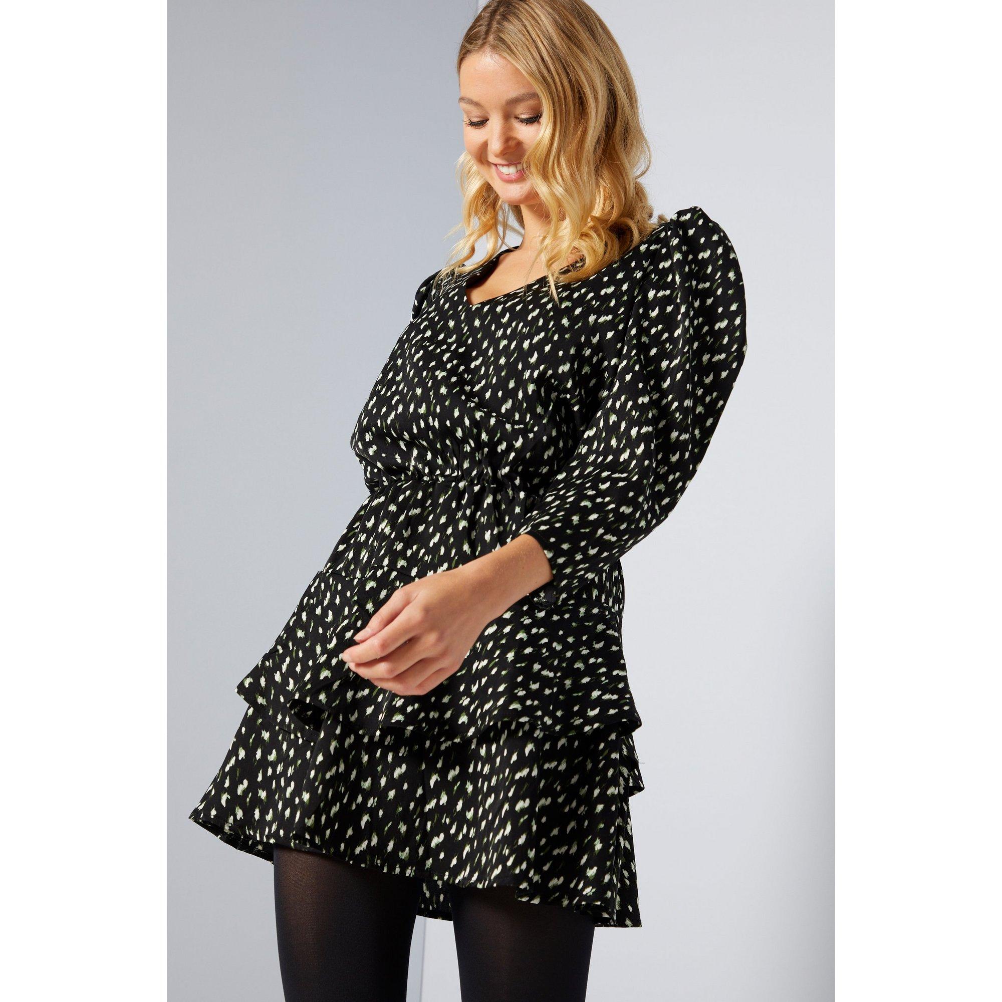 Image of AX Paris Black/White Polka Dot Ruffle Hem Dress