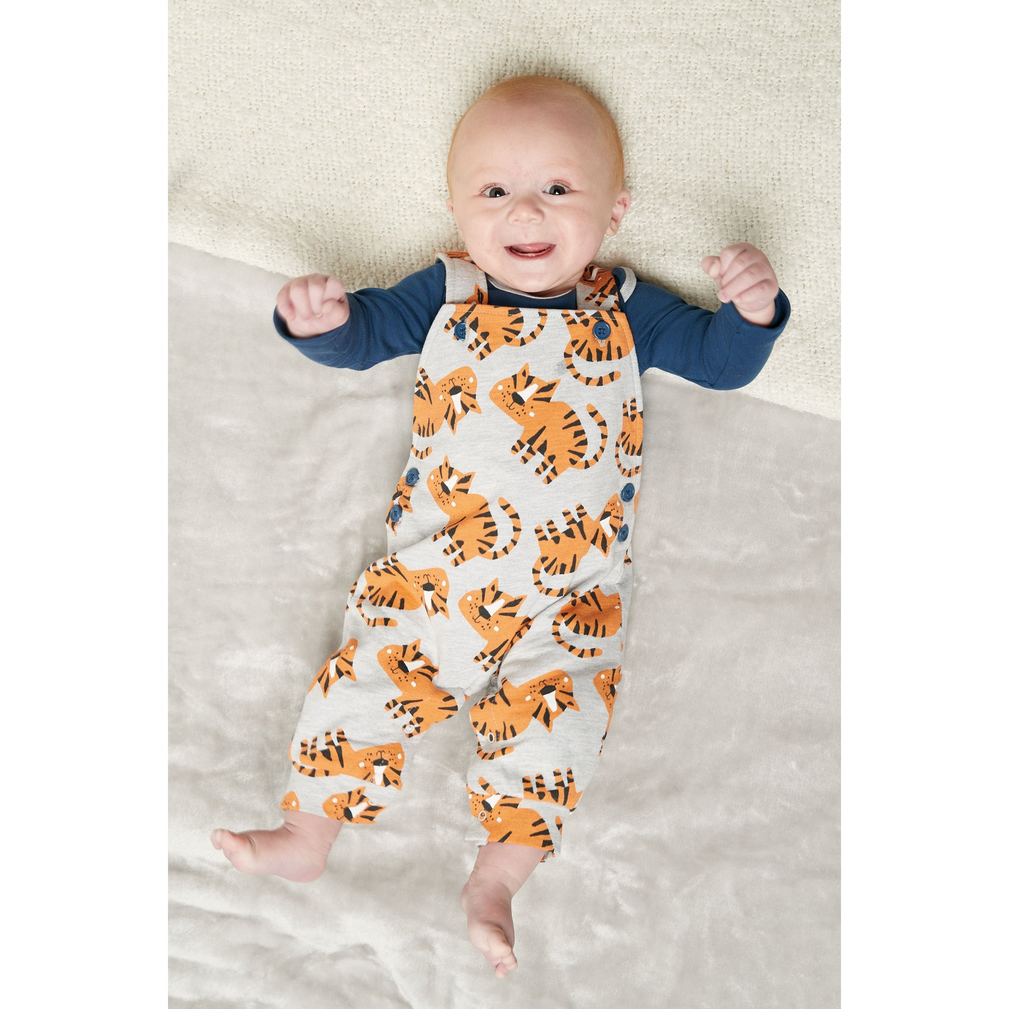 Image of Baby Boys 2-Piece Tiger Print Dungarees and Bodysuit Set