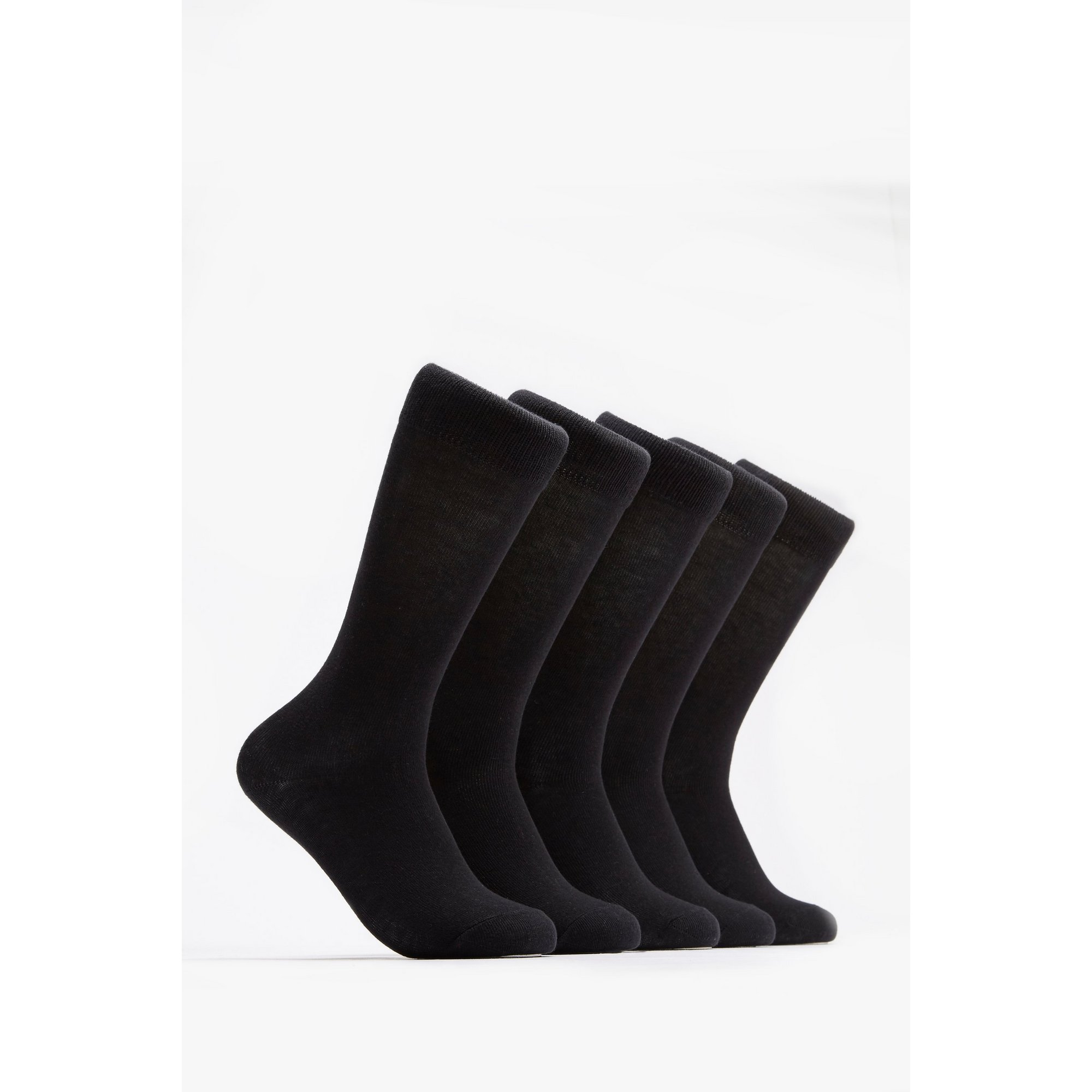 Image of Girls Pack of 5 Black Knee High Socks