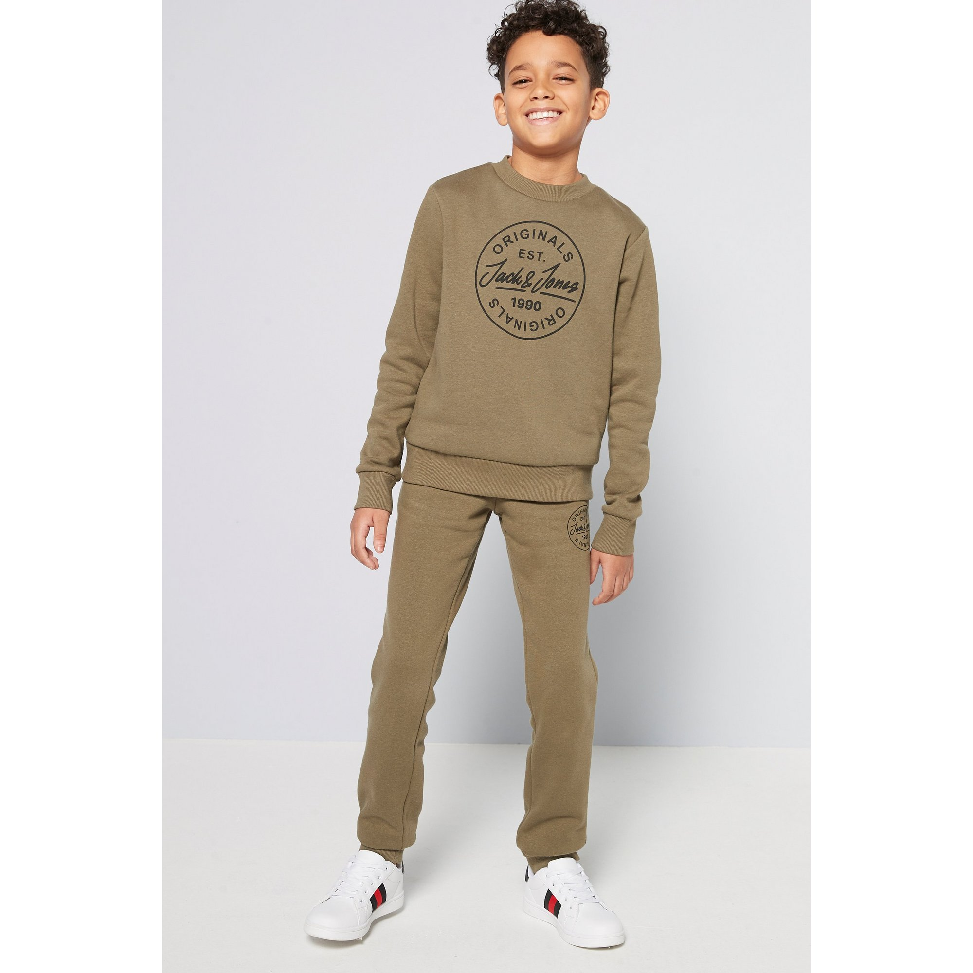 Image of Boys Jack and Jones Joremore Olive Crew Neck and Sweat Pants